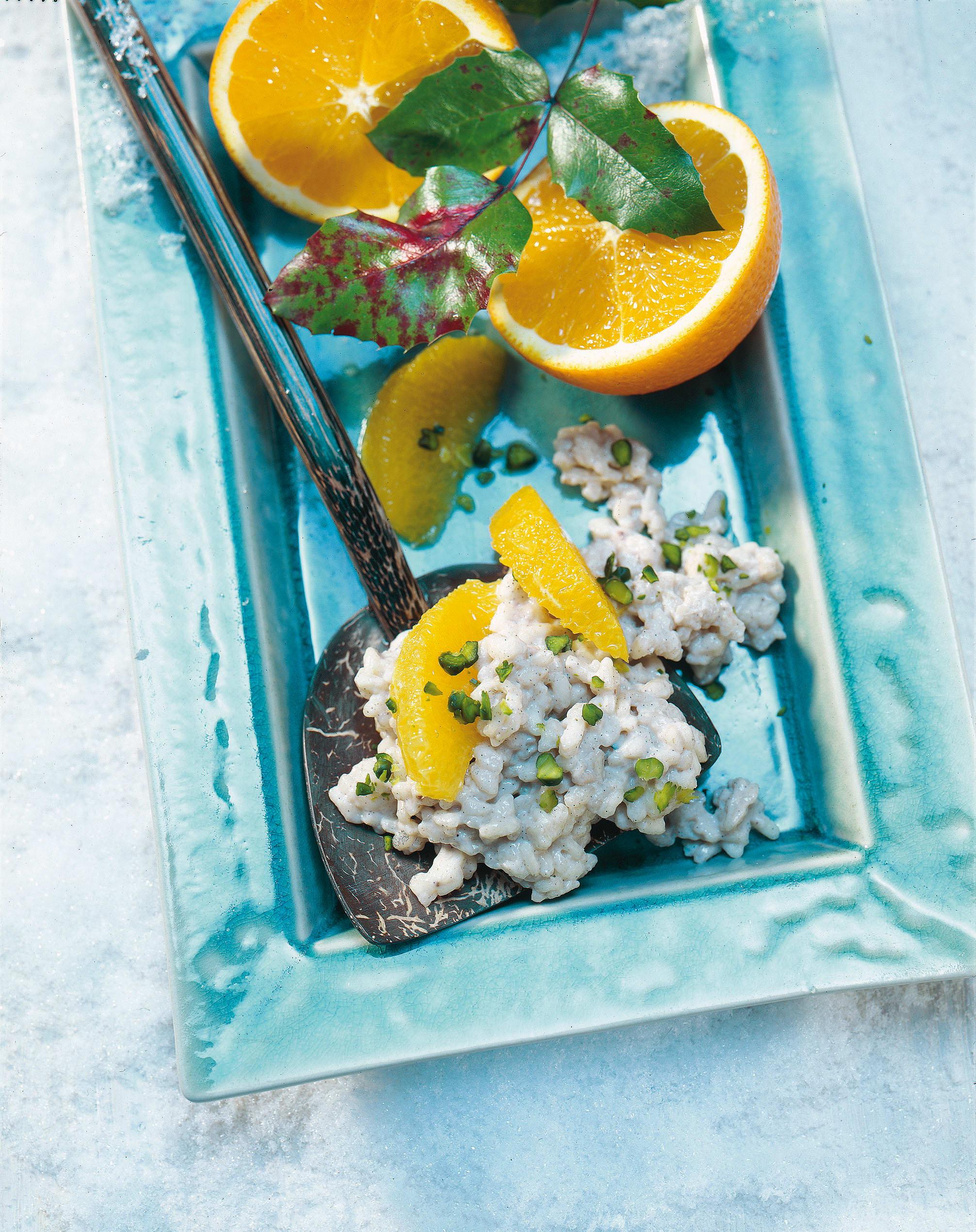Lebkuchenrisotto mit Orangenfilets