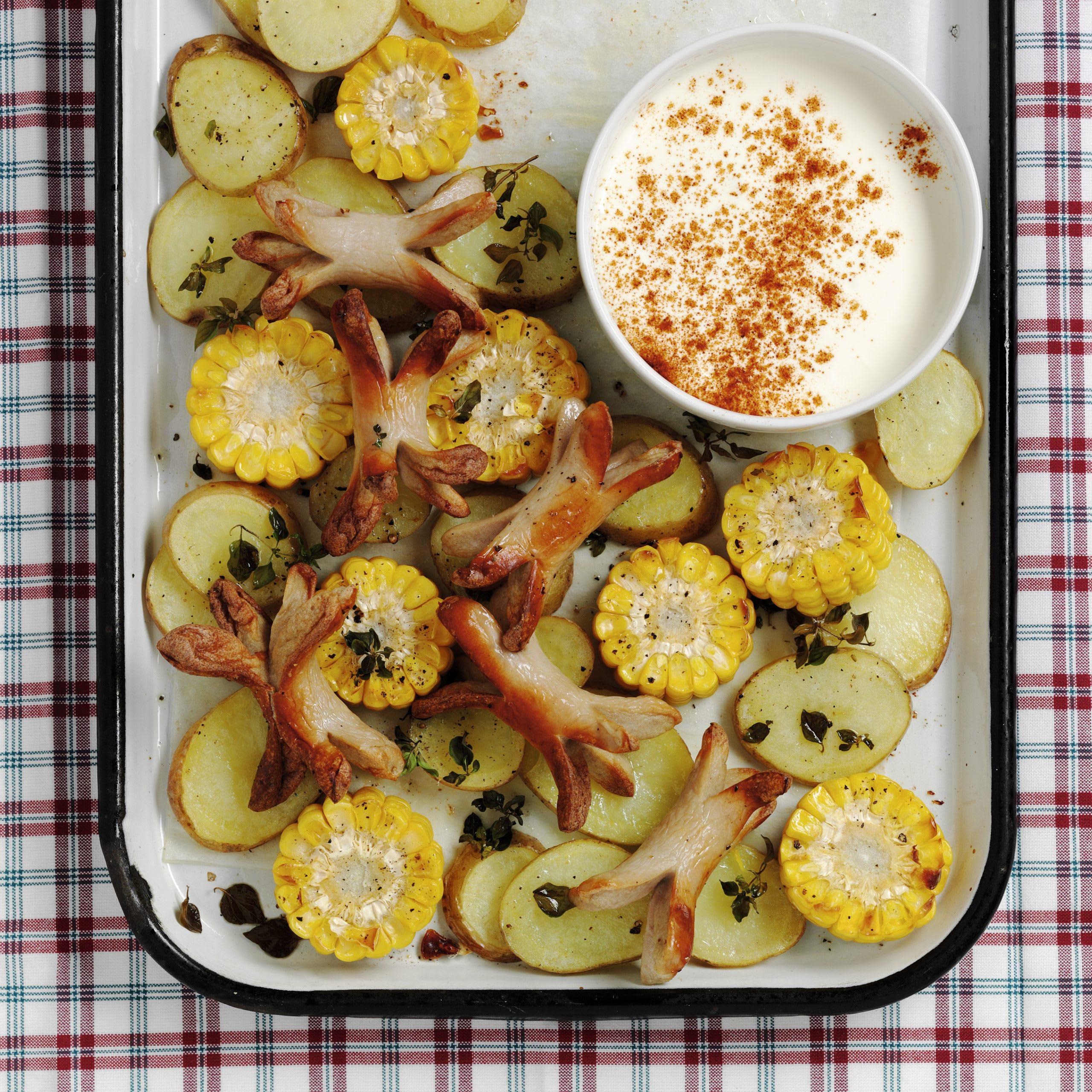 Maïs, pommes de terre et saucisses