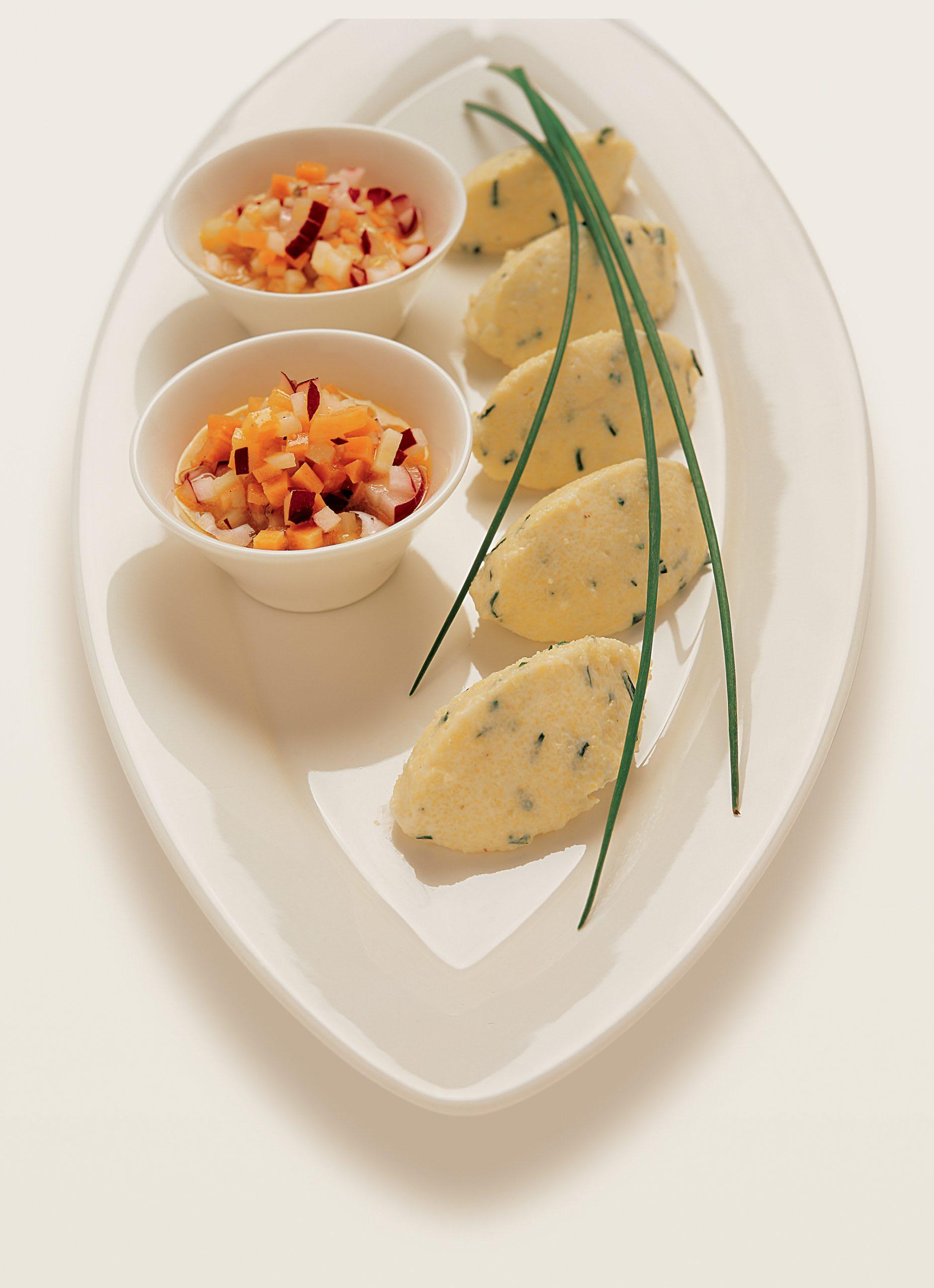 Mousse de semoule et sa vinaigrette aux légumes