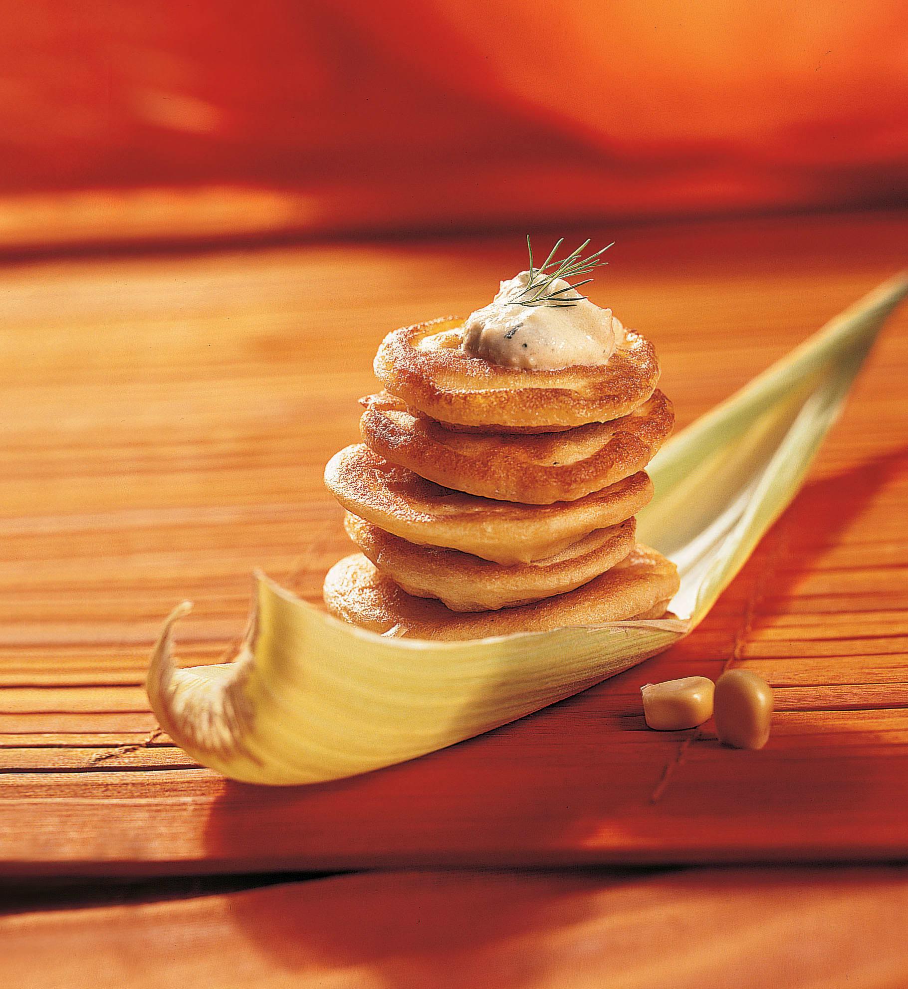 Galettes de maïs et sauce au fenouil