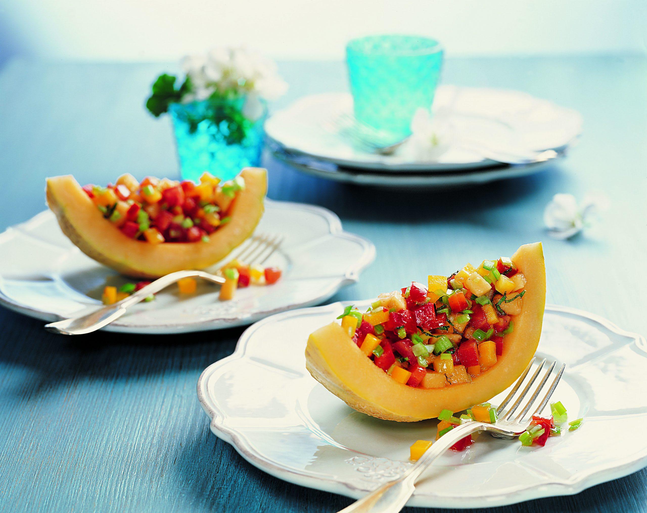 Salade de melon et de légumes du soleil
