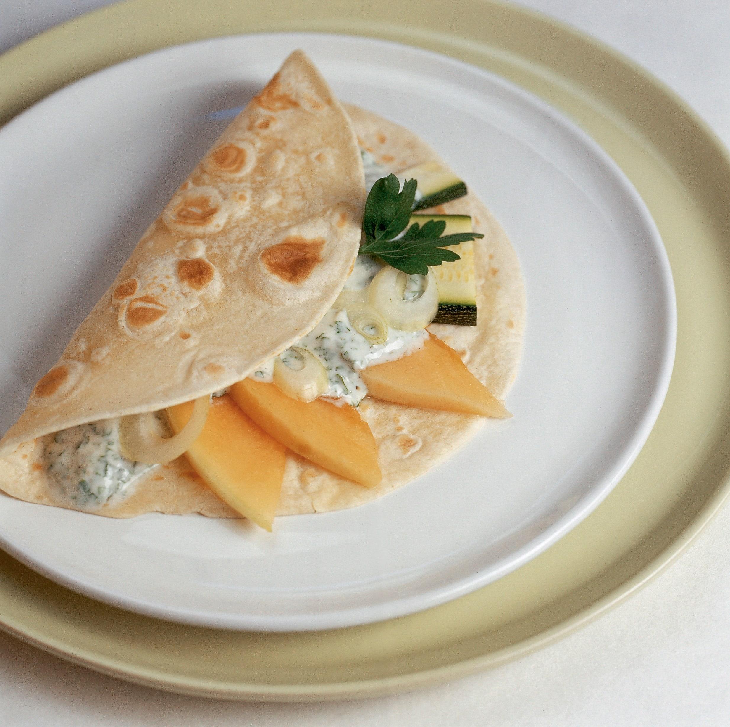 Tortillas au melon et aux courgettes