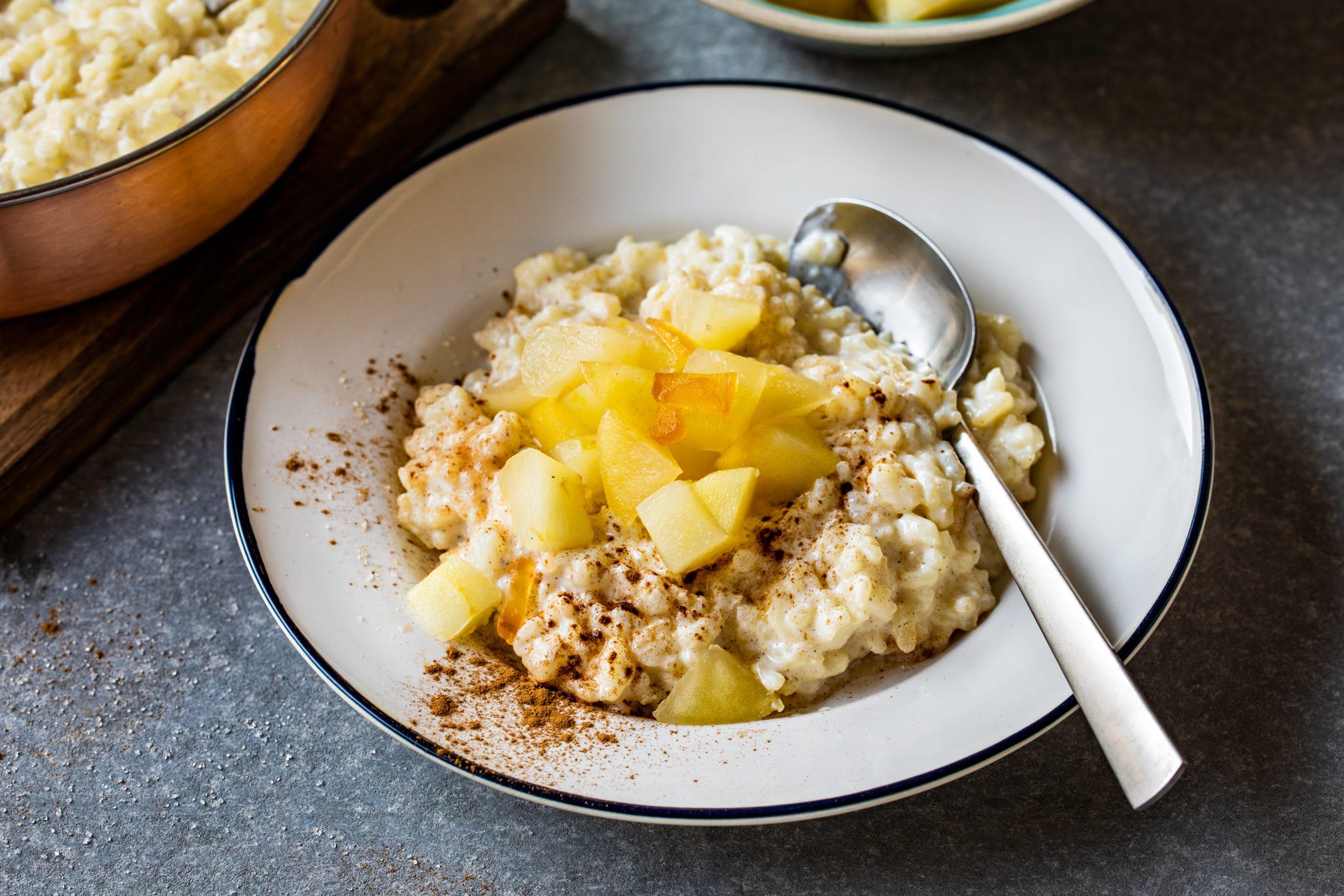 Riz au lait et compote de pommes au gingembre
