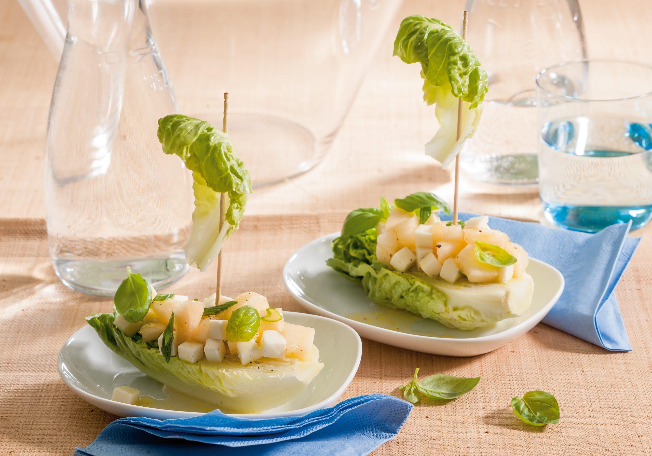 Mini-laitue et salade melon-mozzarella