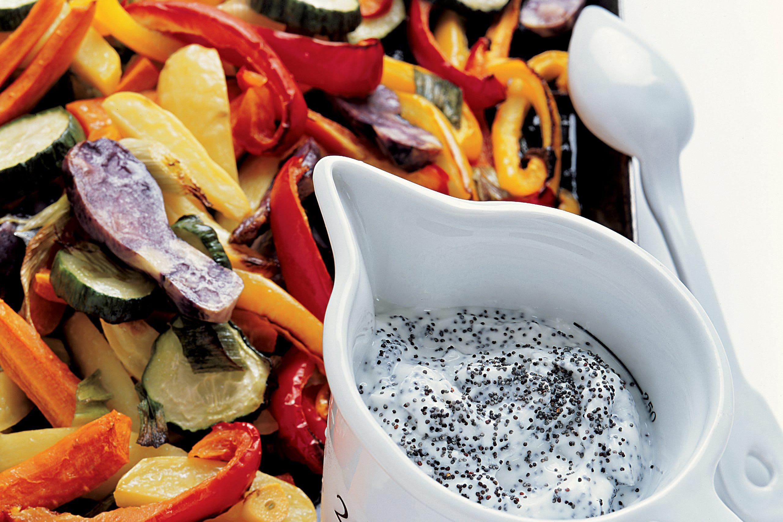Légumes au four et séré au pavot