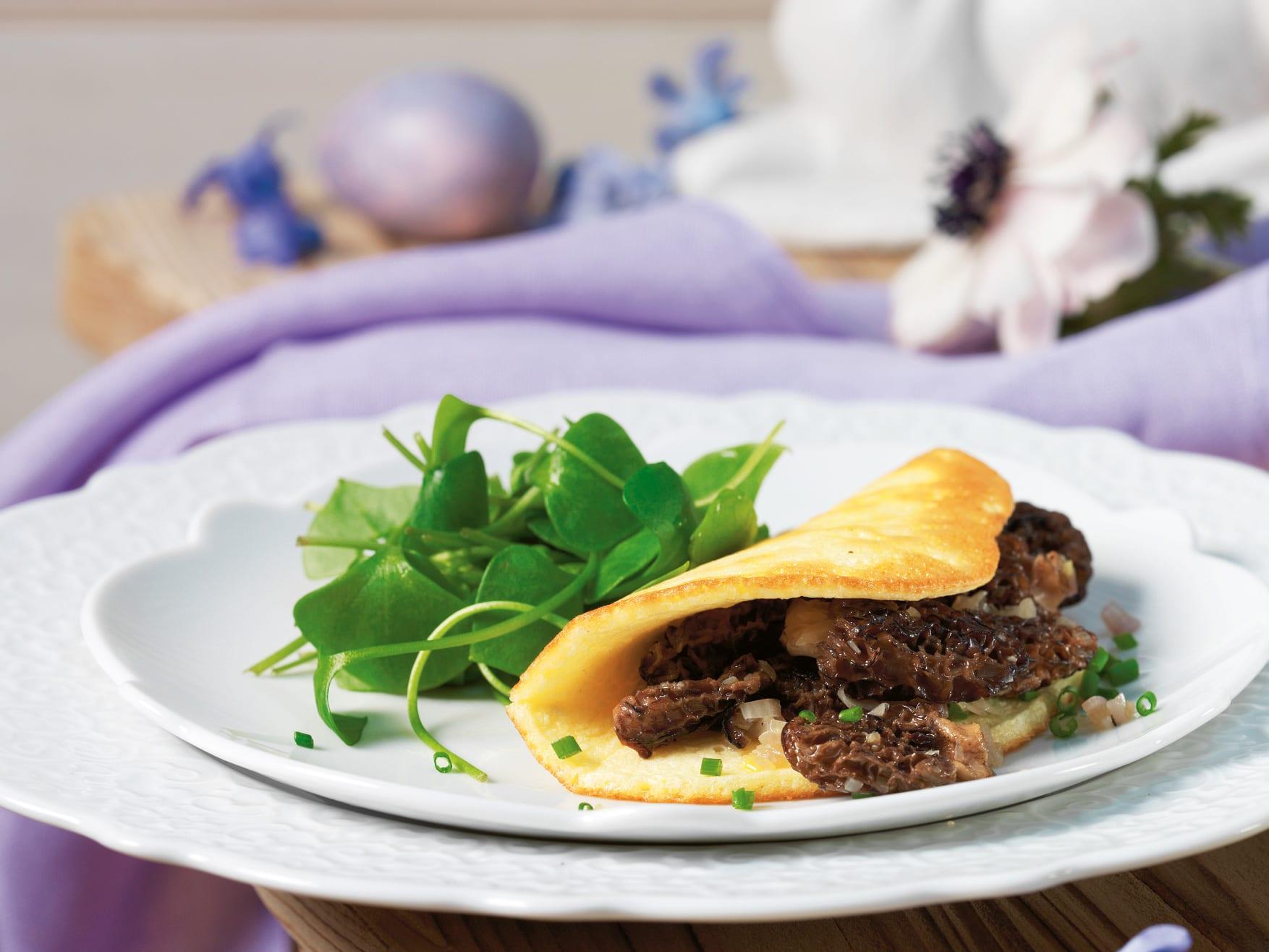 Omelette soufflée aux morilles