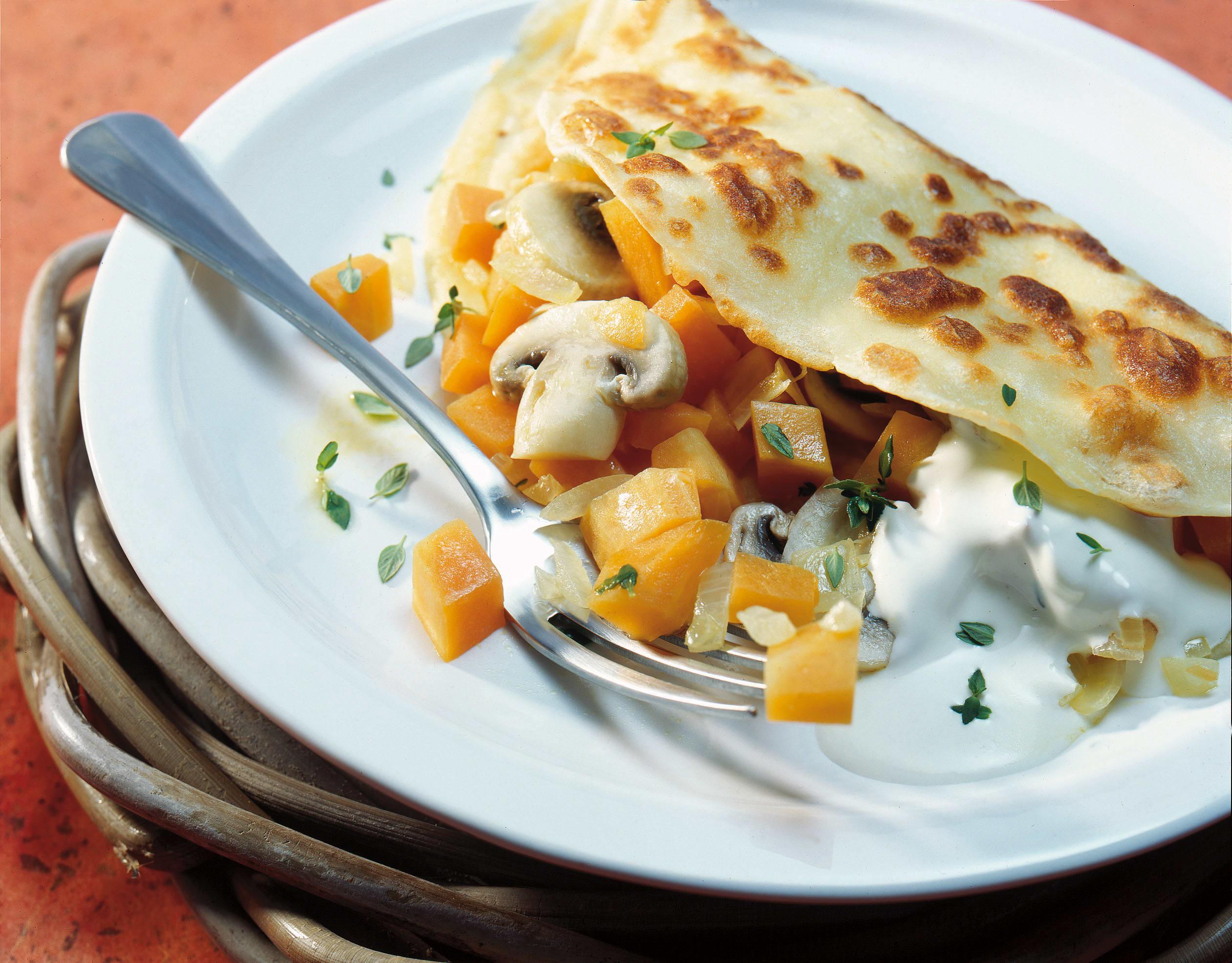 Omeletten mit Kürbis-Champignon-Füllung