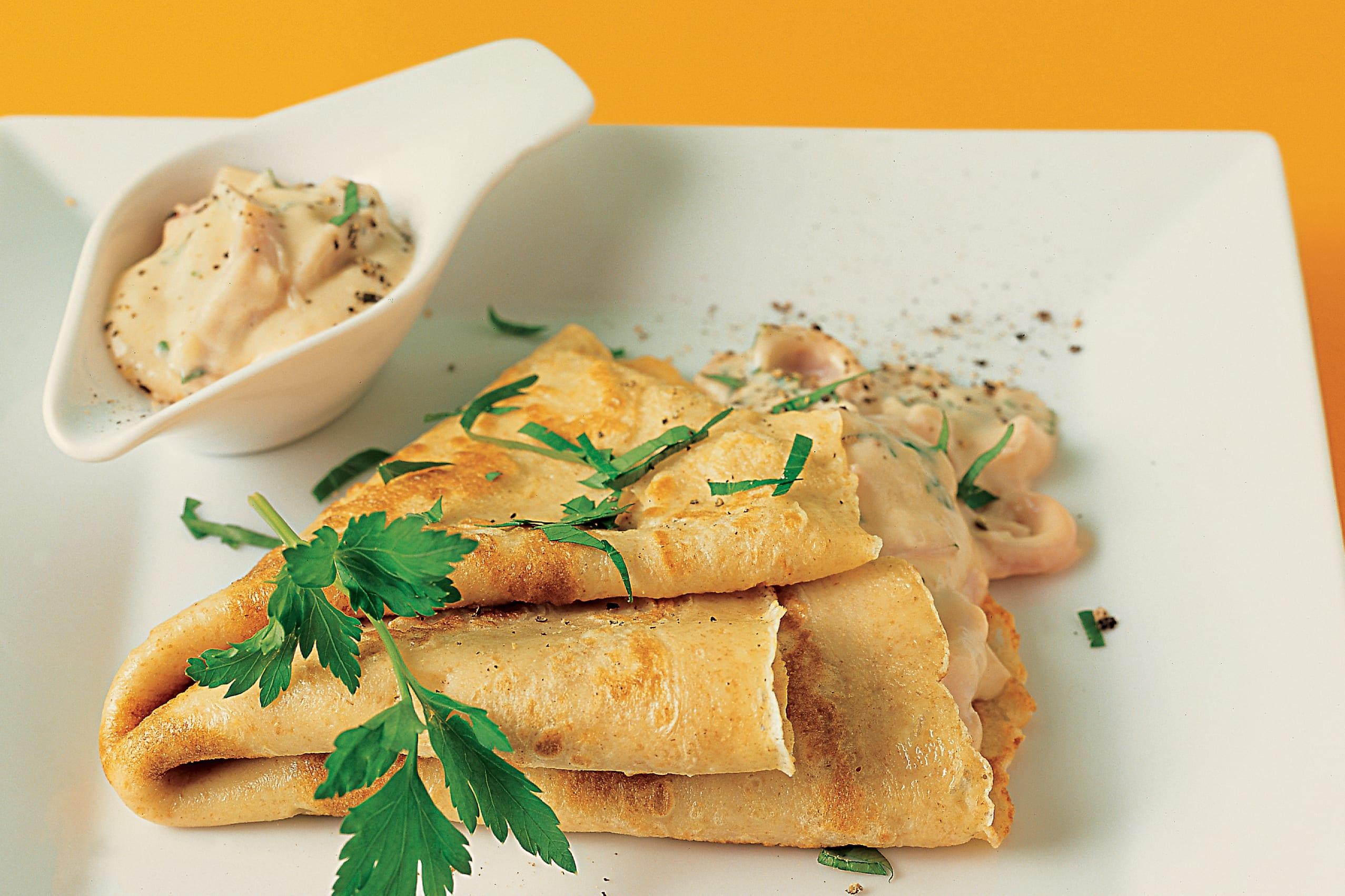 Omeletten mit Schinken-Rahm-Füllung