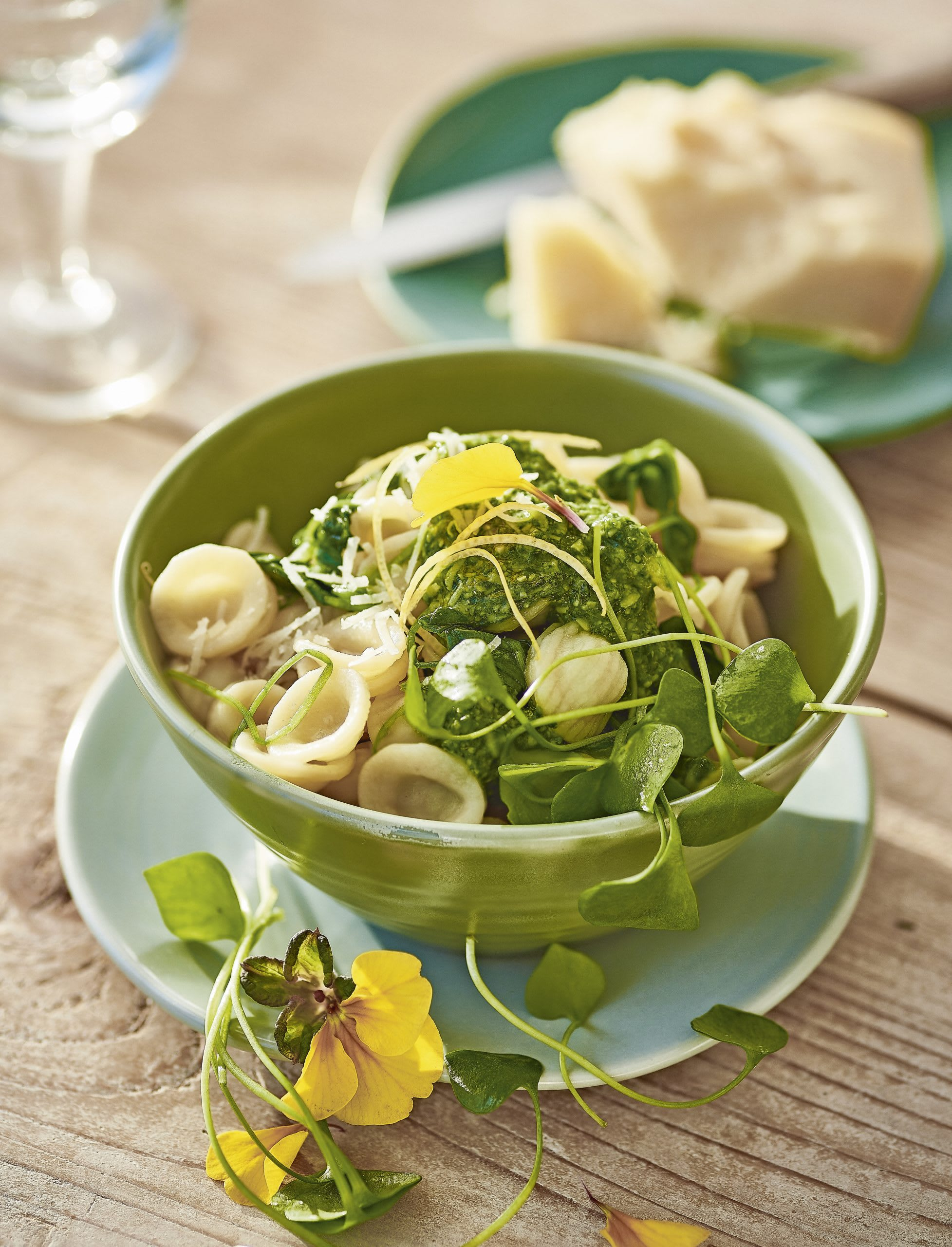 Orecchiette mit Portulak und Kräuter-Sbrinz-Pesto