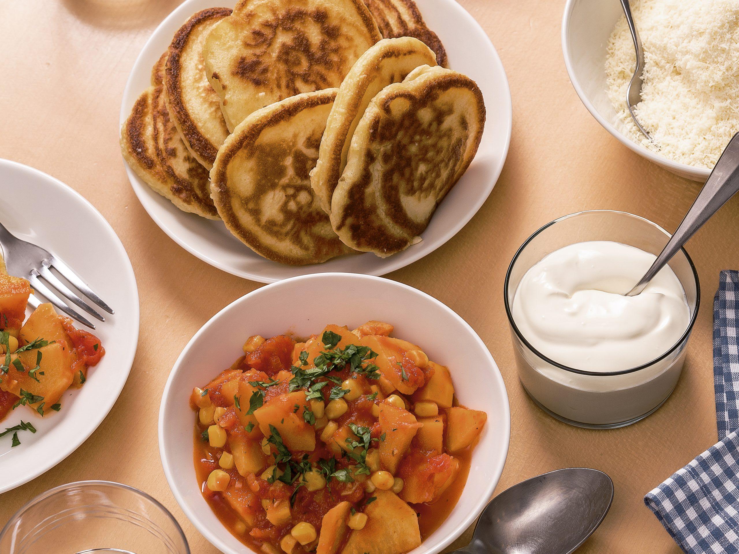 Pancakes mit Gemüseragout