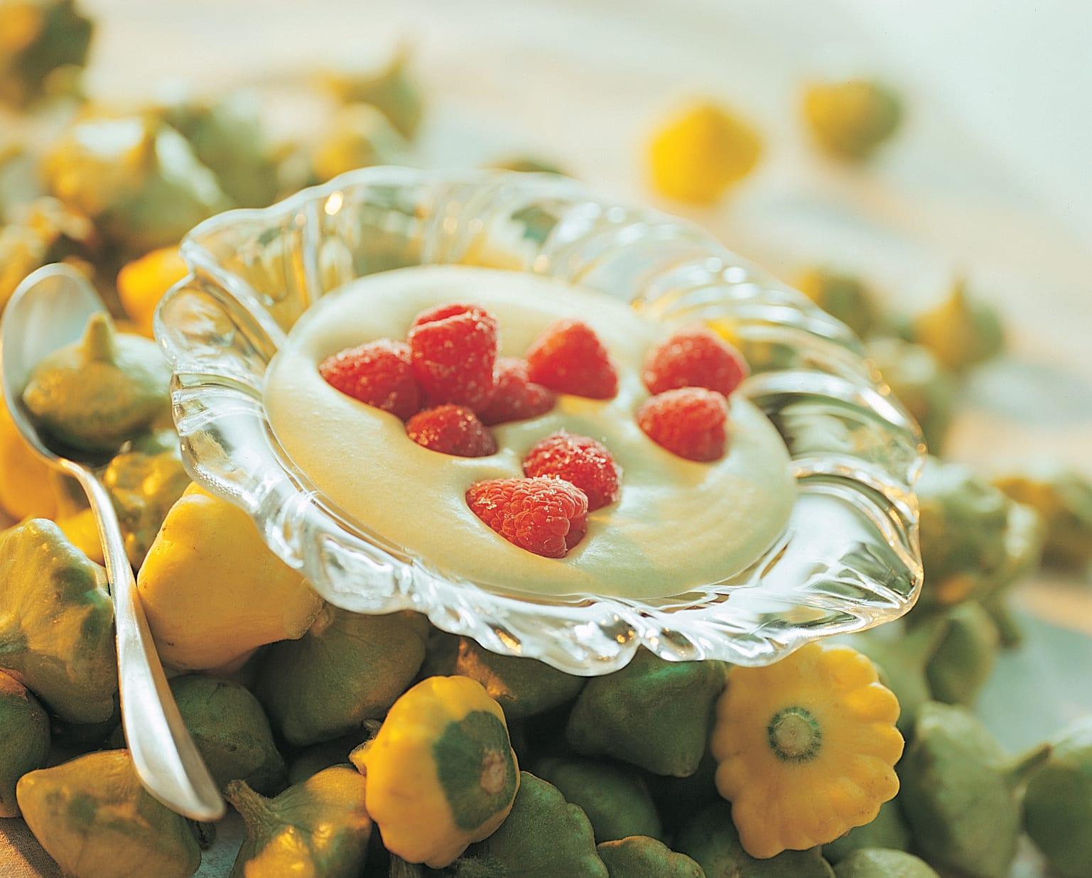 Crème de pâtisson aux framboises