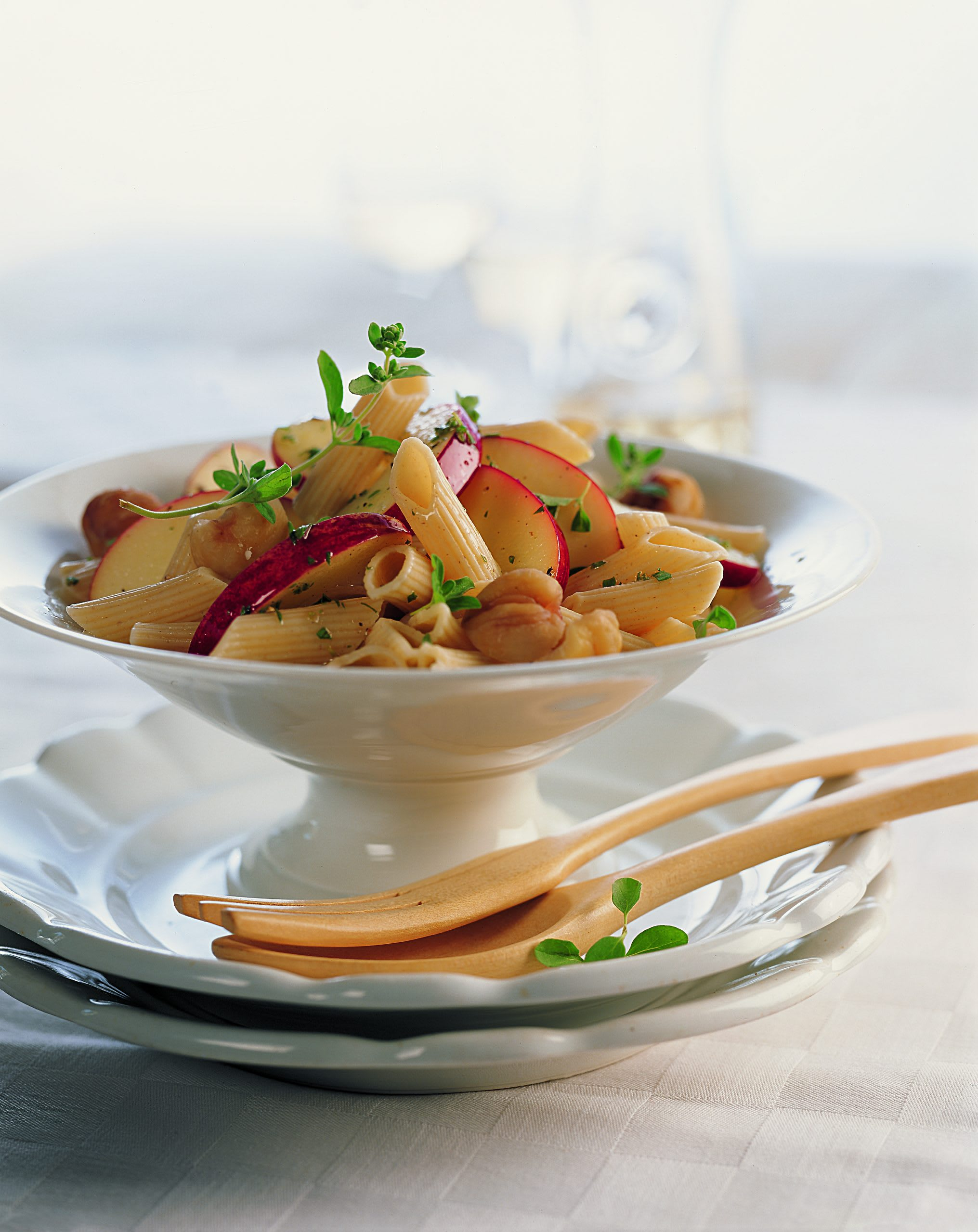 Salade de penne aux marrons sauce aux pommes