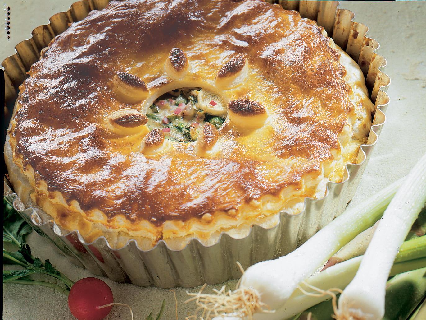 Pie mit grillierten Spargeln