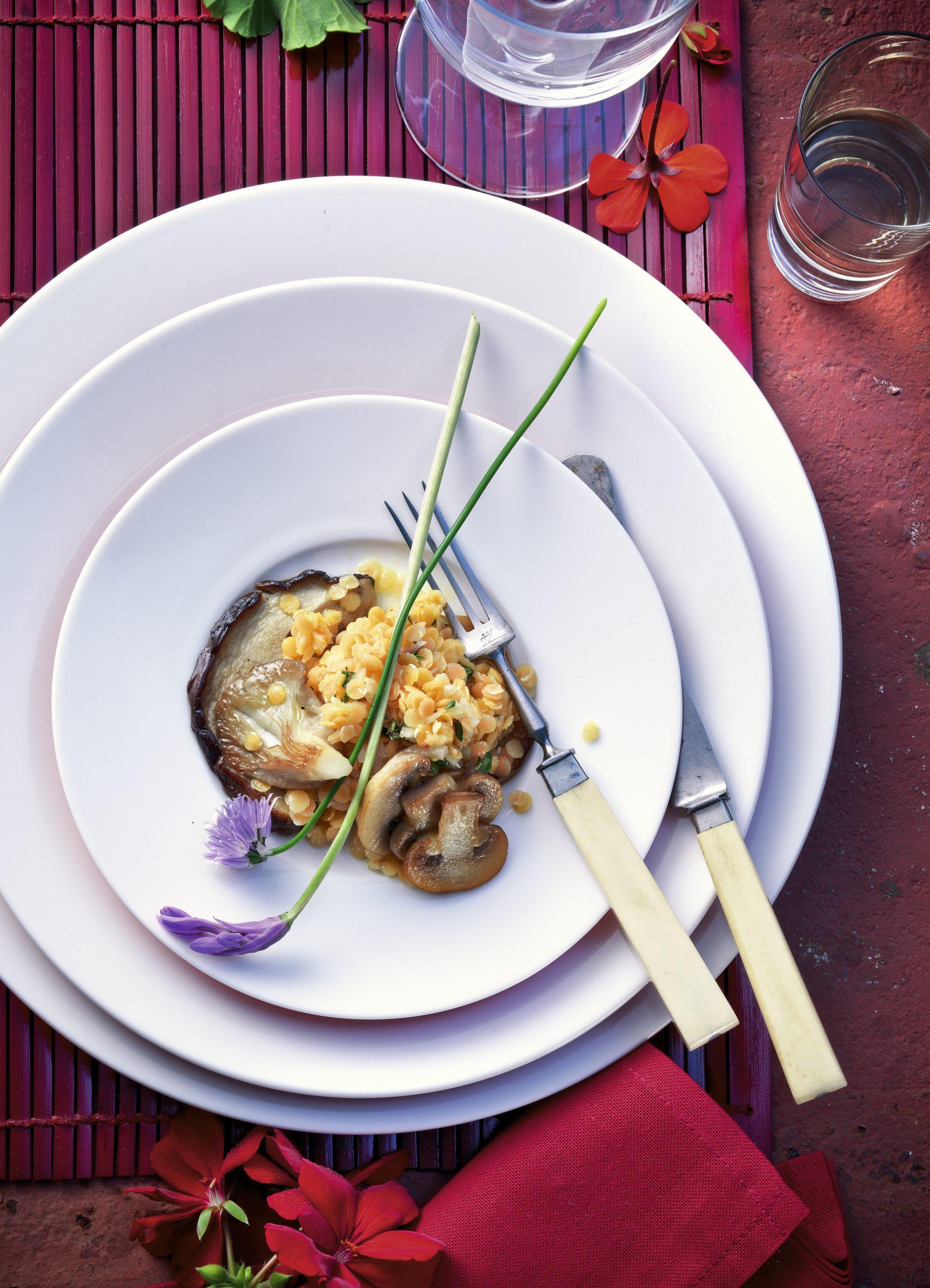 Salade de lentilles aux champignons