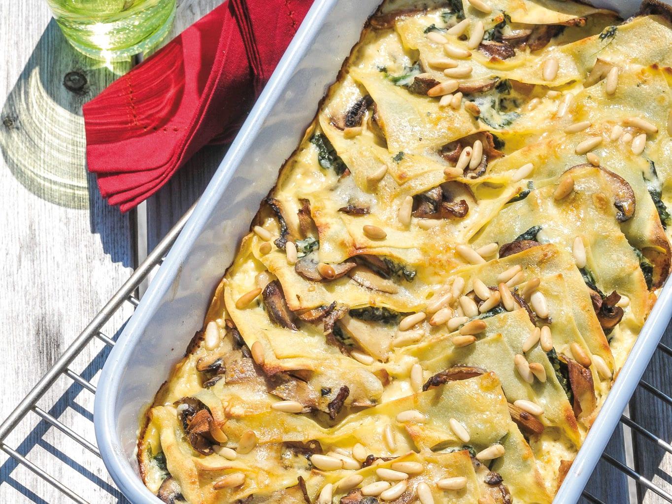 Lasagnes aux champignons et aux épinards
