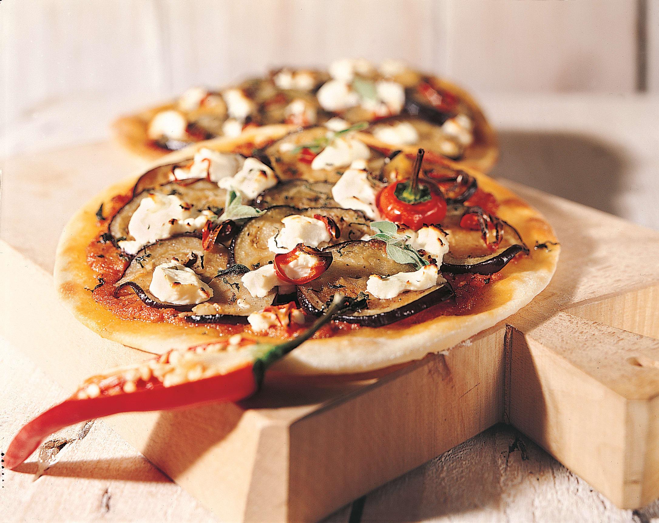 Pizza aux aubergines marinées
