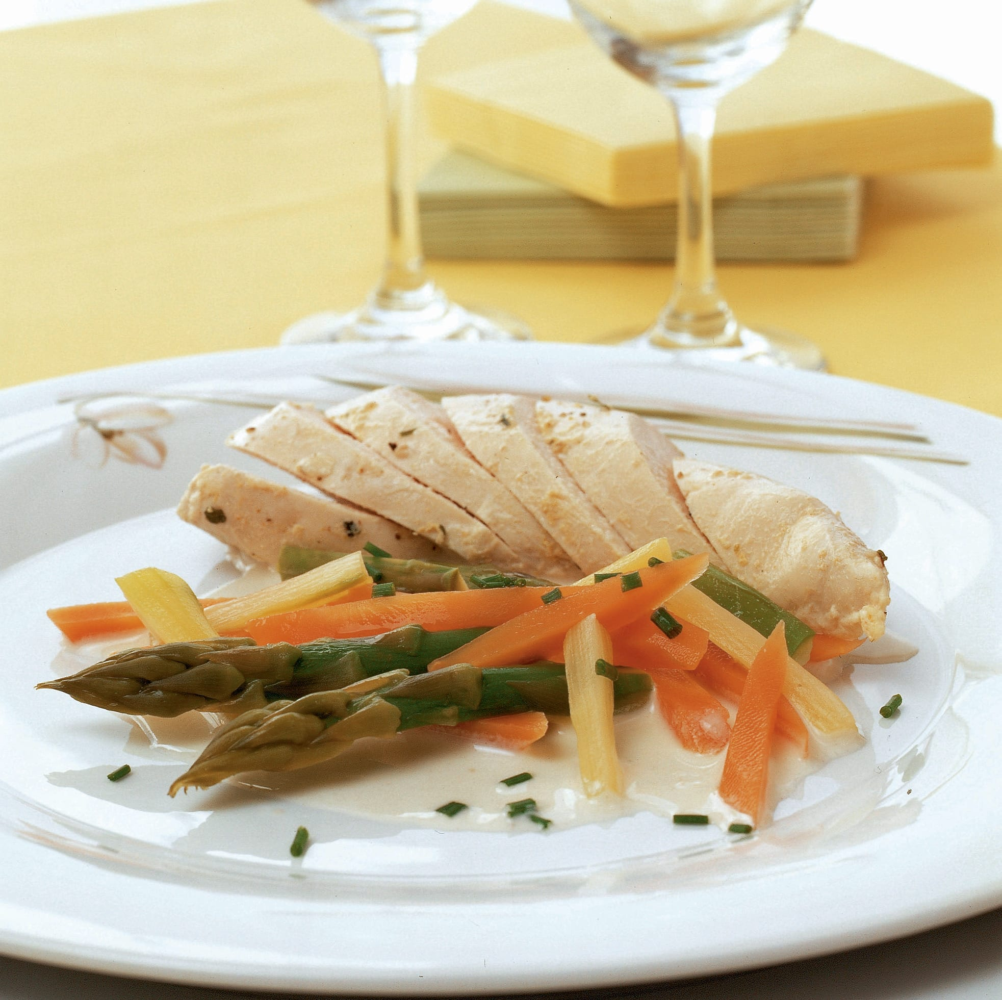 Pochiertes Pouletbrüstchen mit Spargel-Rüebli-Gemüse