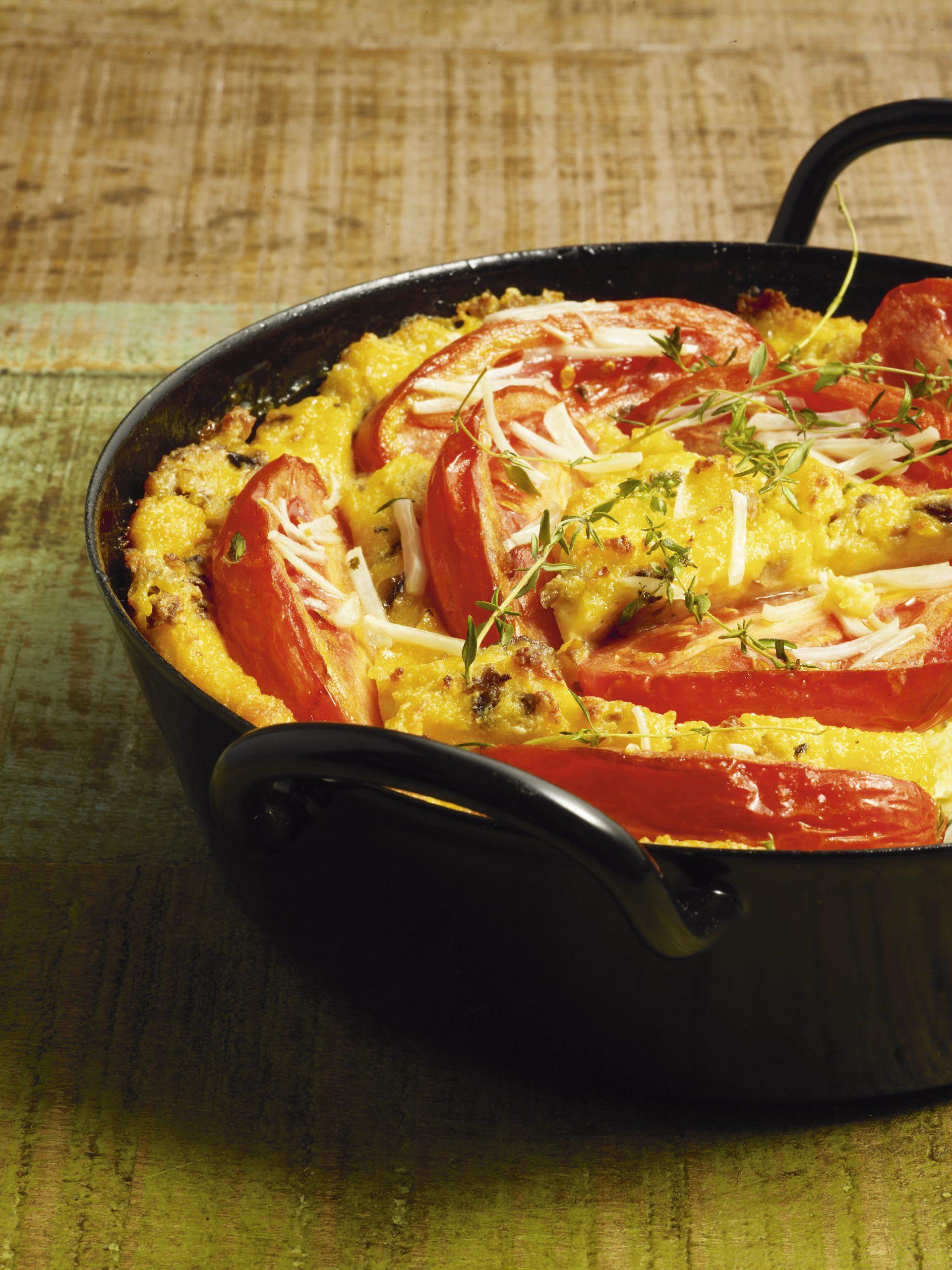 Gratin de polenta aux tomates caramélisées