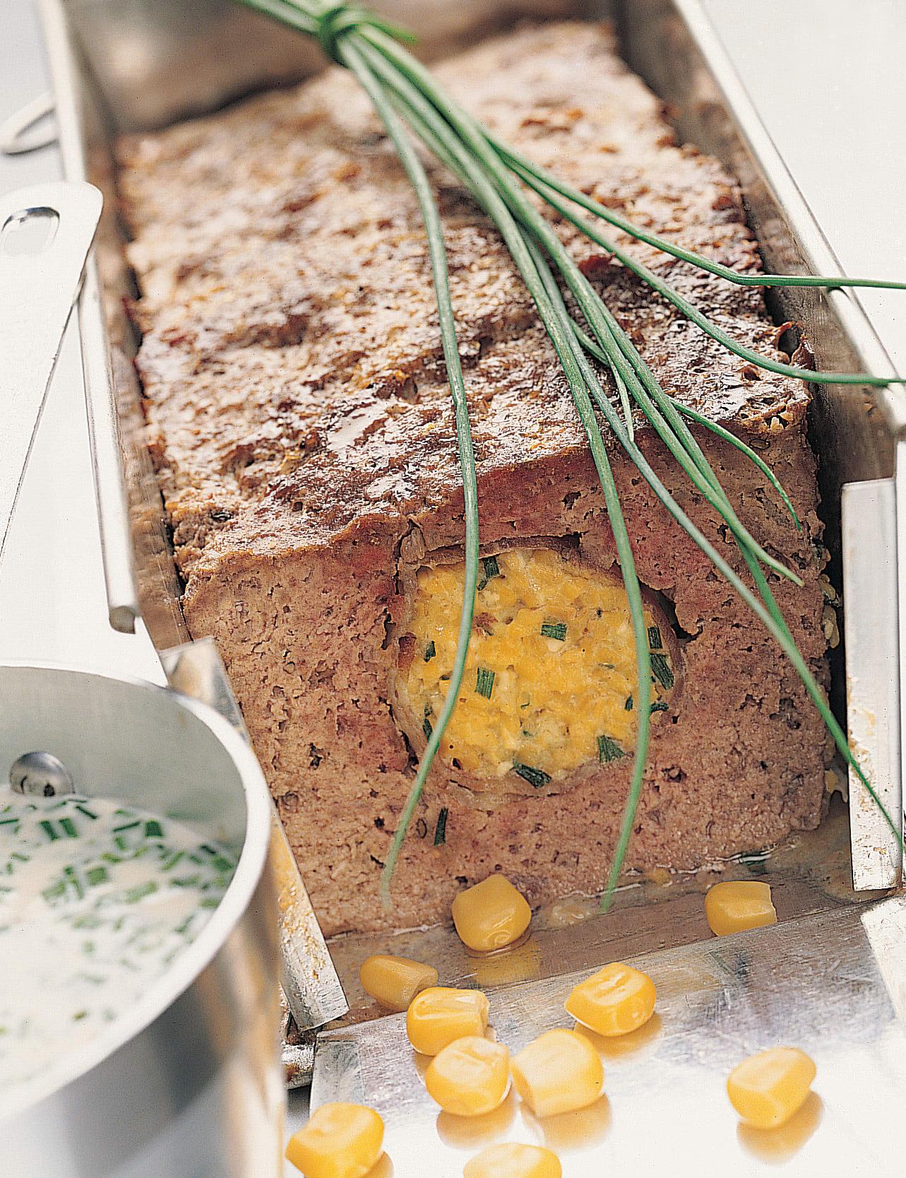 Rôti haché à la polenta et au lard