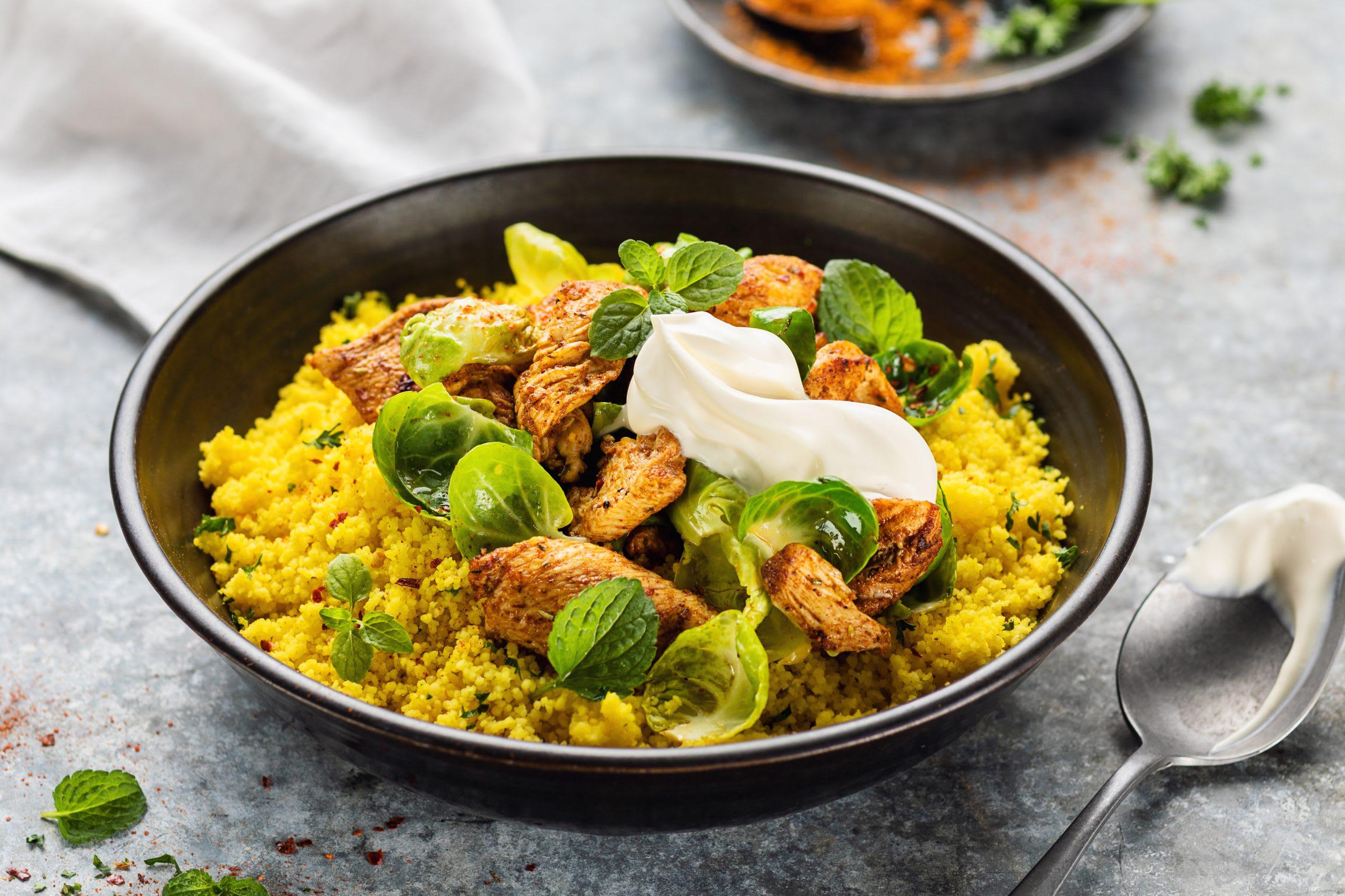 Couscous oriental au poulet et aux choux de Bruxelles