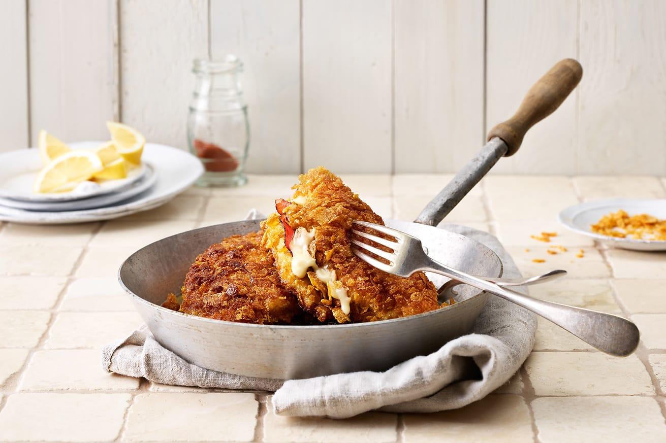 Poulet-Cordon-bleu mit Cornflakes-Panade