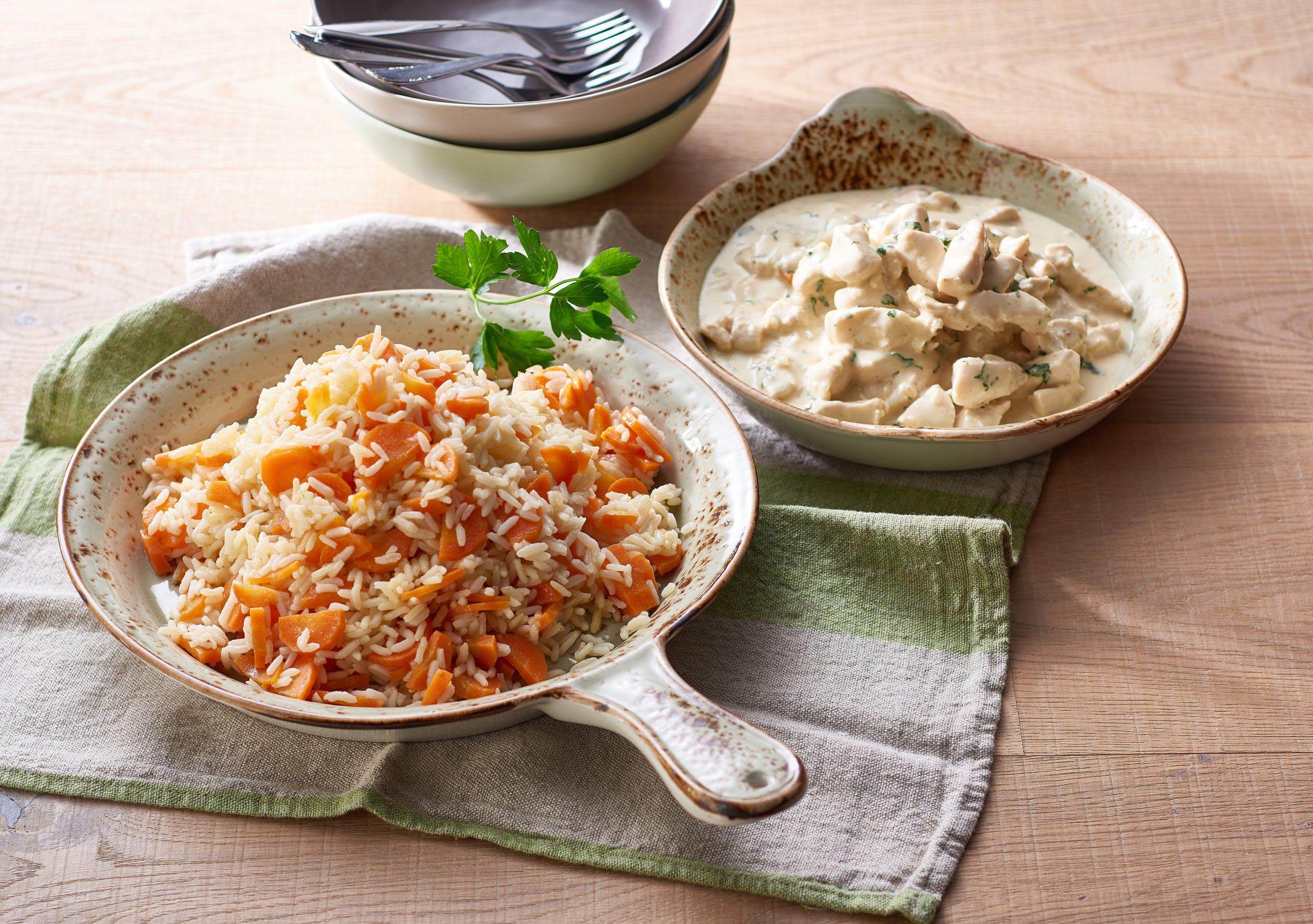 Poulet-Geschnetzeltes mit Rüebli-Reis
