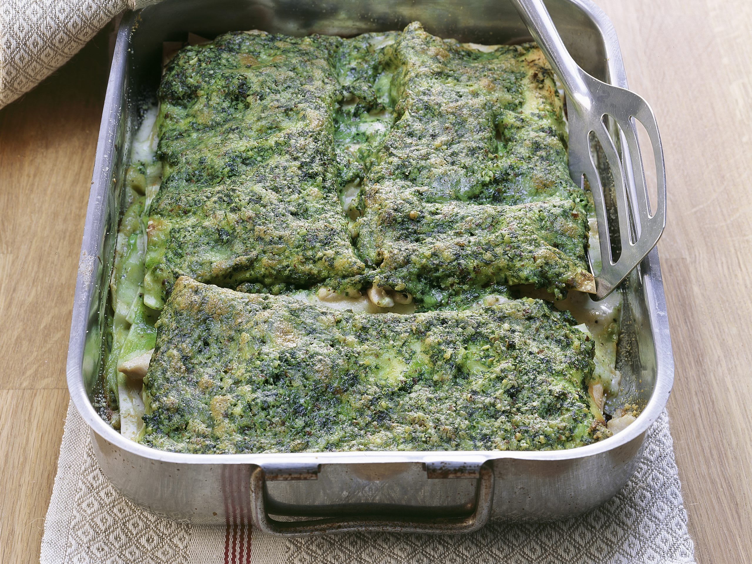 Poulet-Lasagne mit Pestosauce