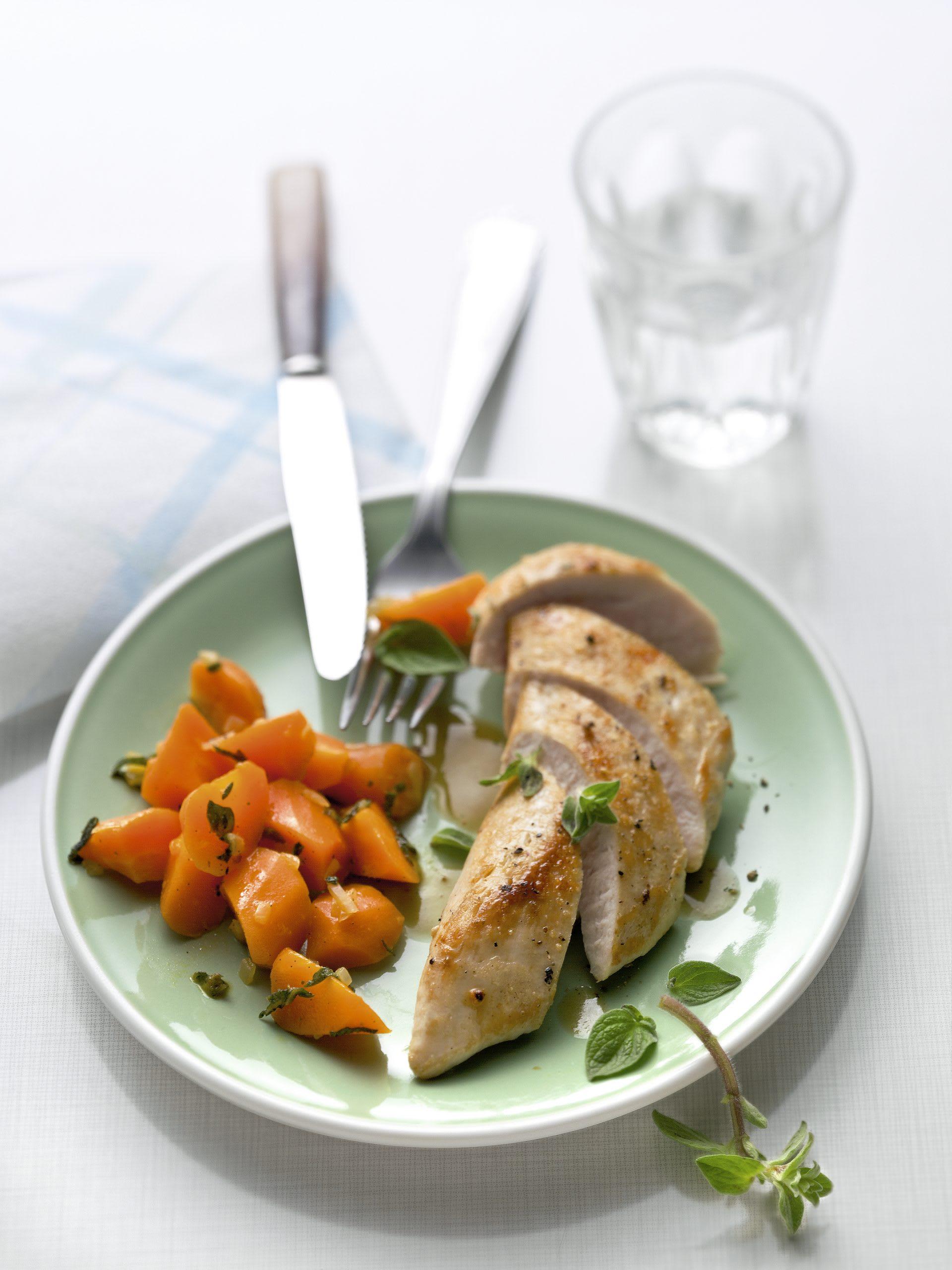 Blancs de poulet et carottes à l'origan