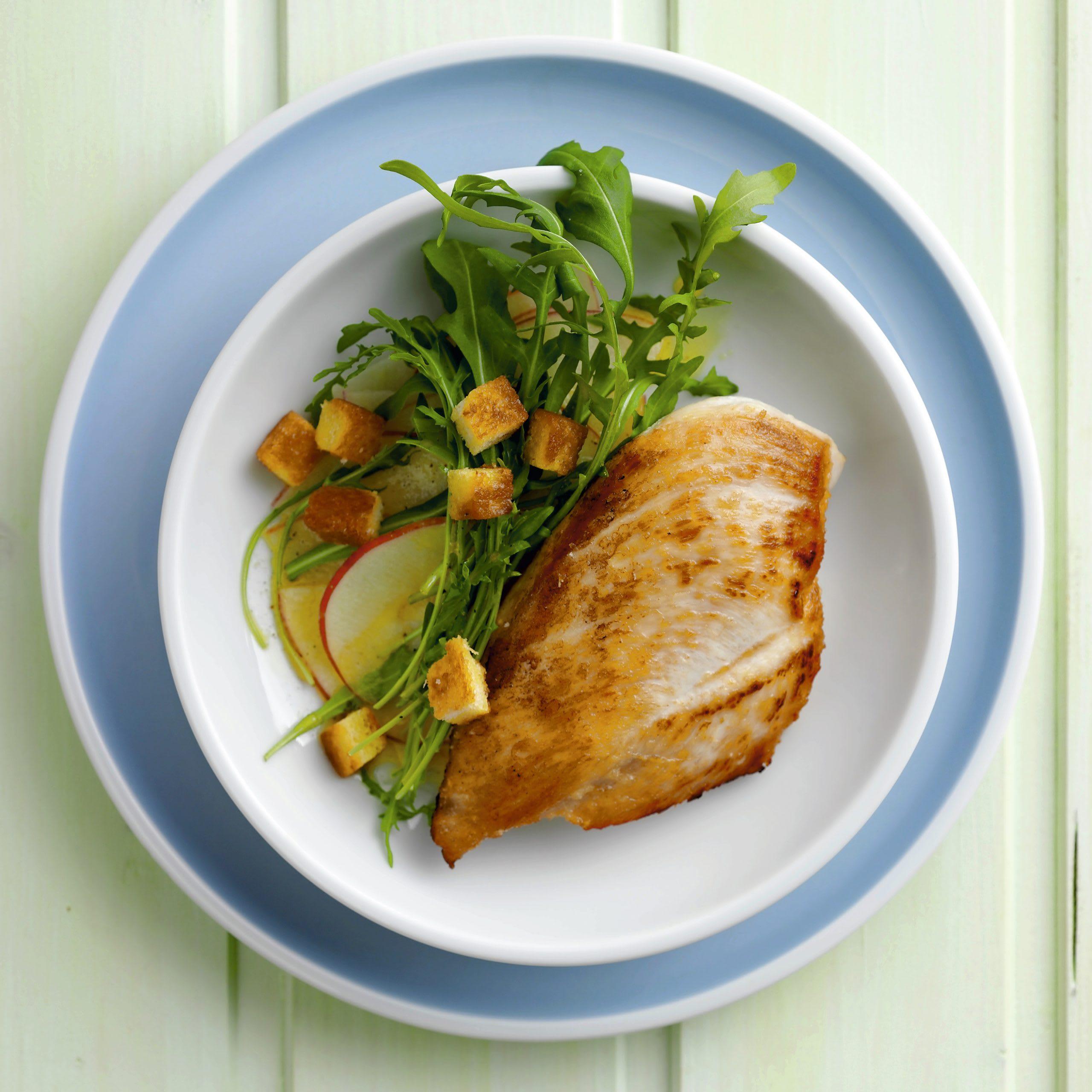 Pouletbrüstchen mit Rucola-Salat