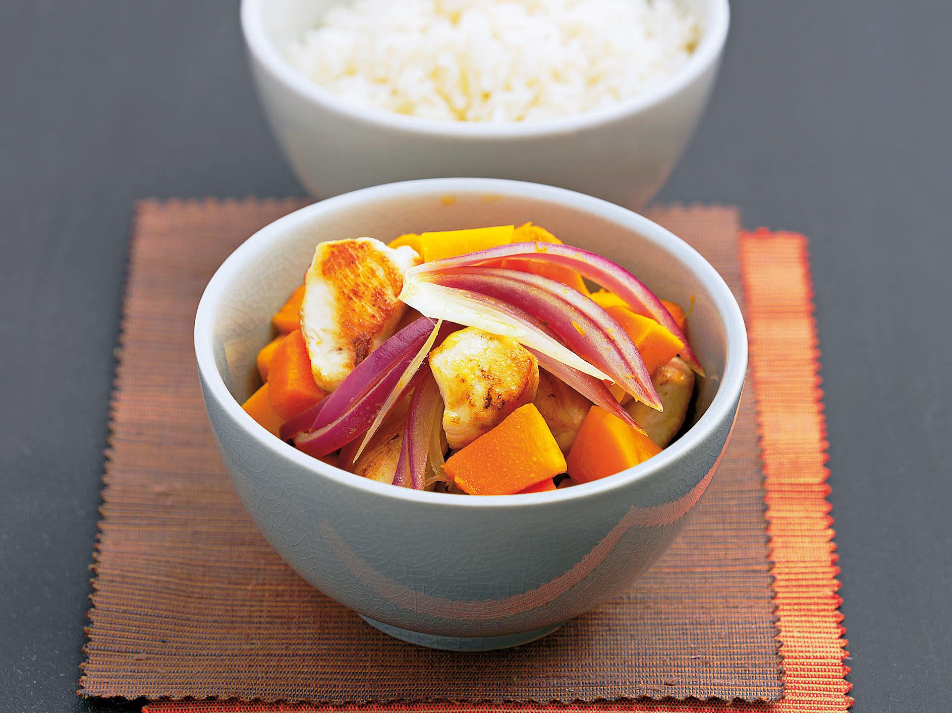 Émincé de poulet à la courge et riz