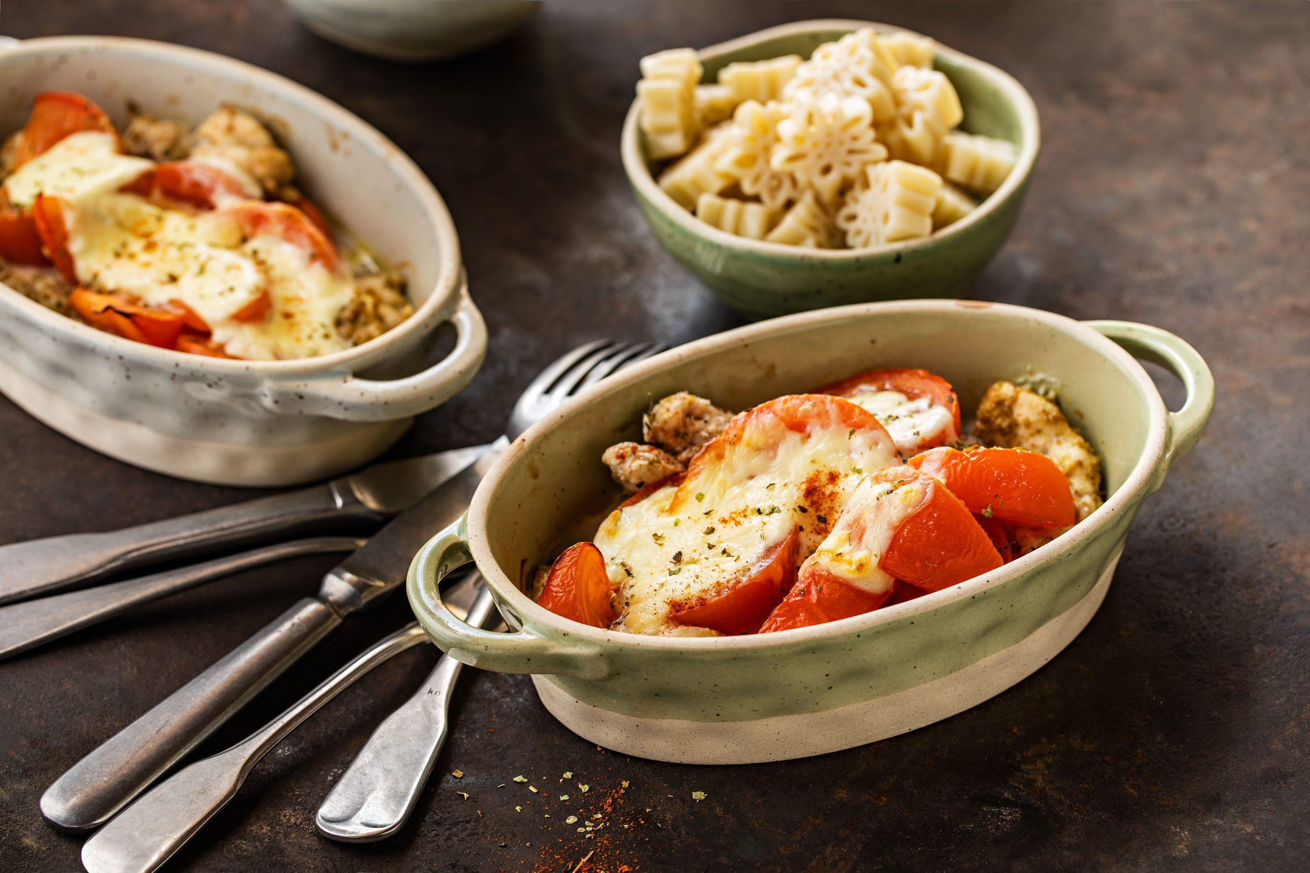 Gratin de poulet tomate-mozzarella