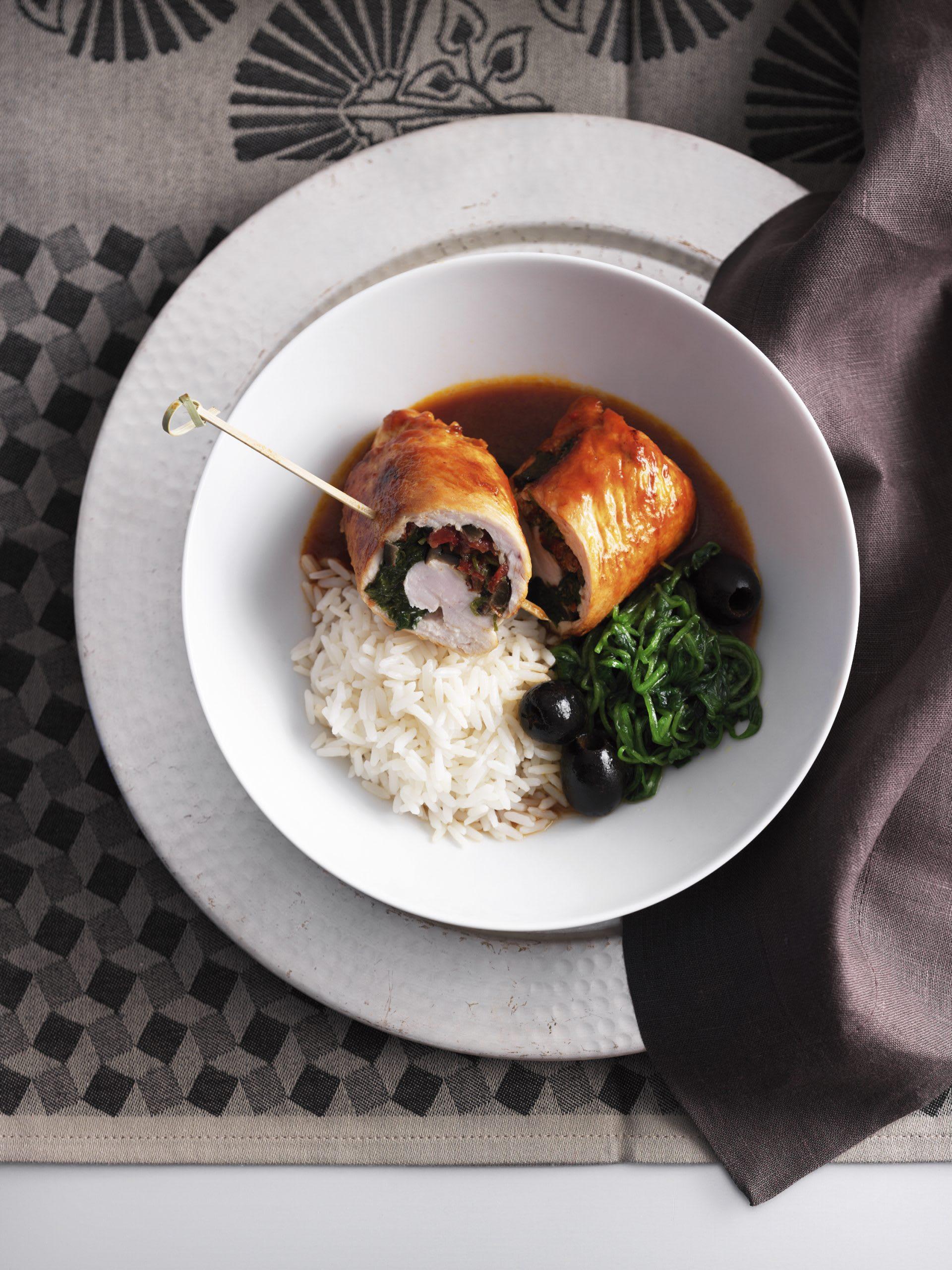 Paupiettes de poulet au riz et au pourpier