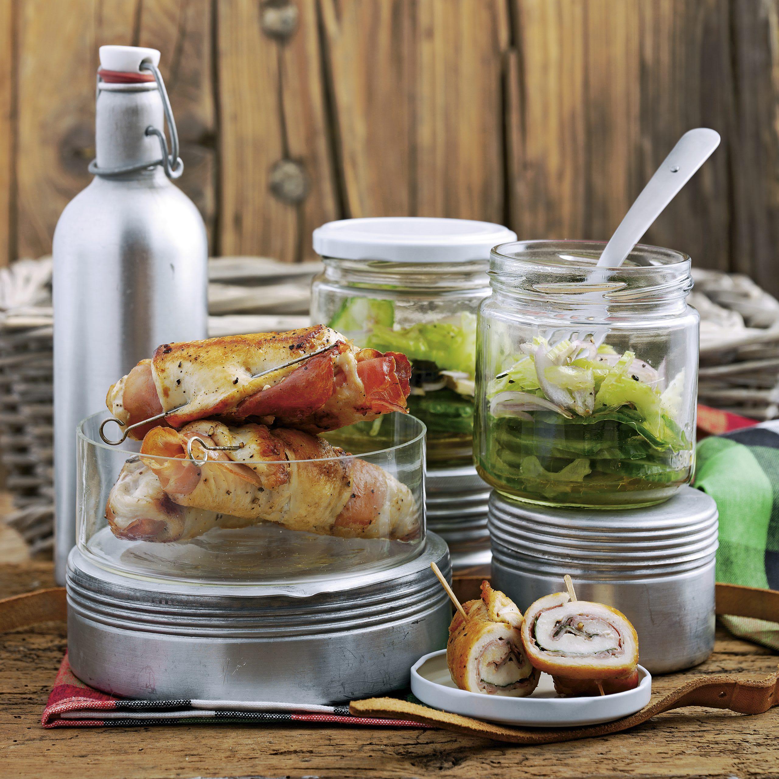 Roulades de poulet et salade de concombre