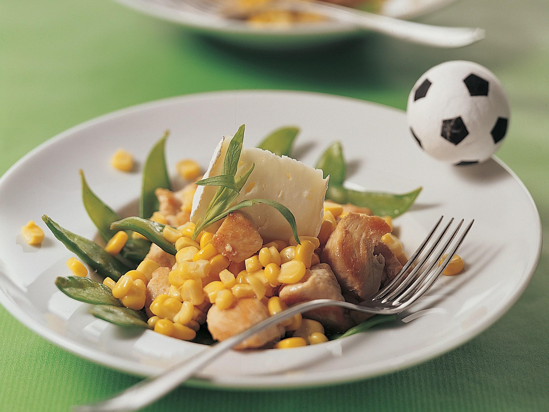 Salade de poulet aux pois mange-tout