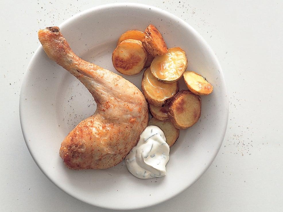 Pouletschenkel an Minzensauce