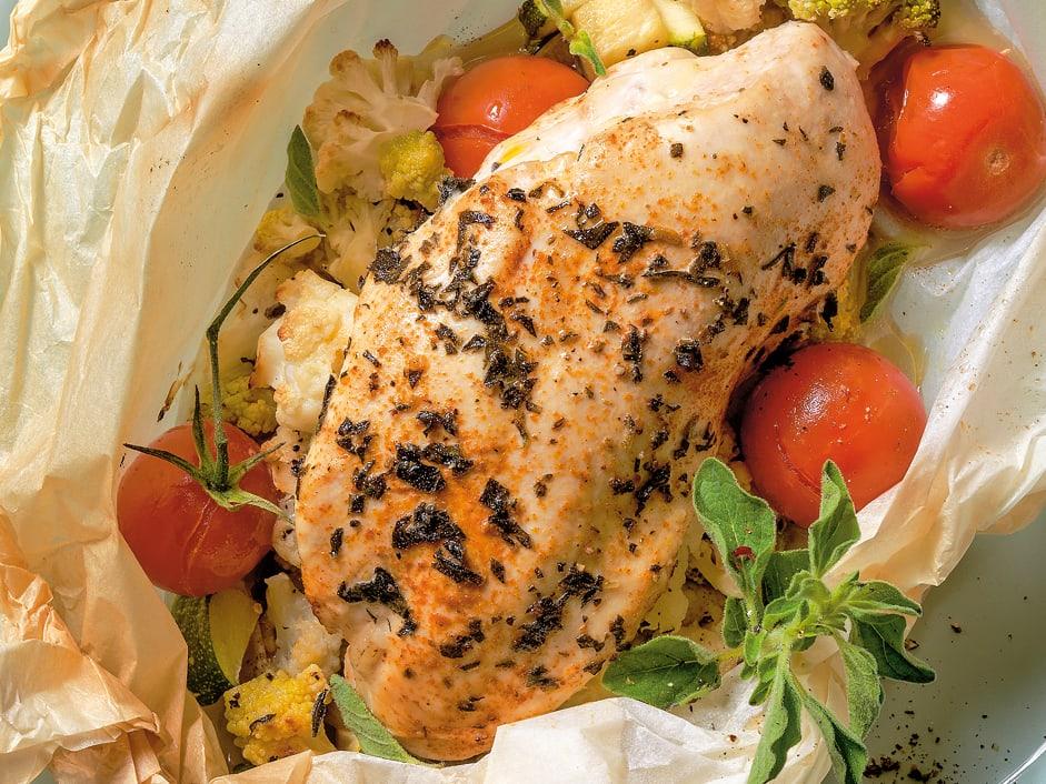 Pouletschnitzel-Gemüse-Päckli
