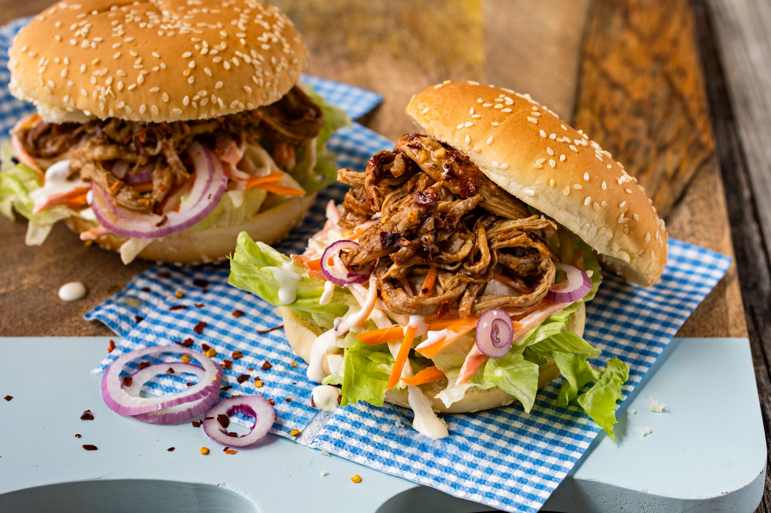 Pulled pork burger (burger de porc effiloché)