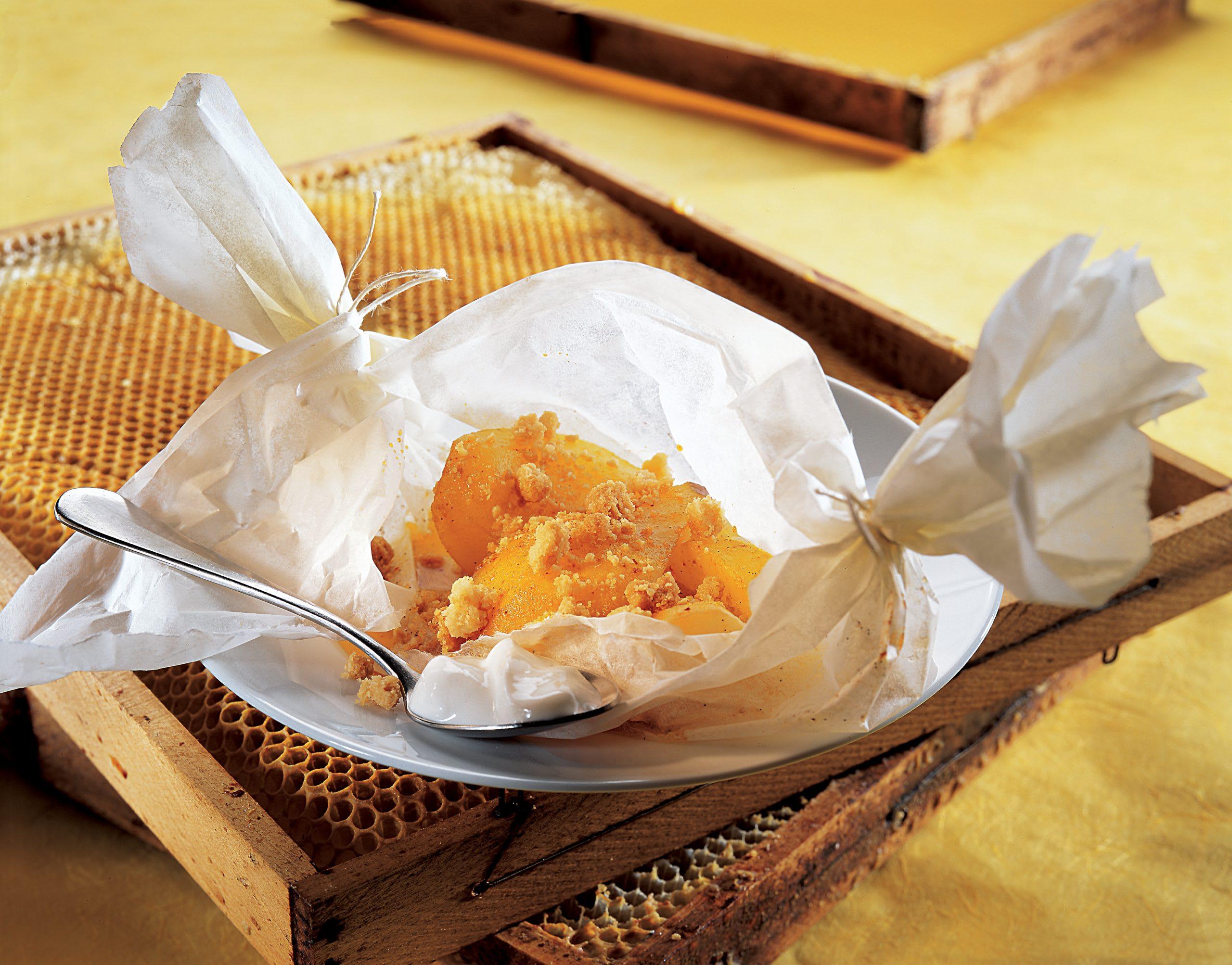 Crumble aux coings et au miel
