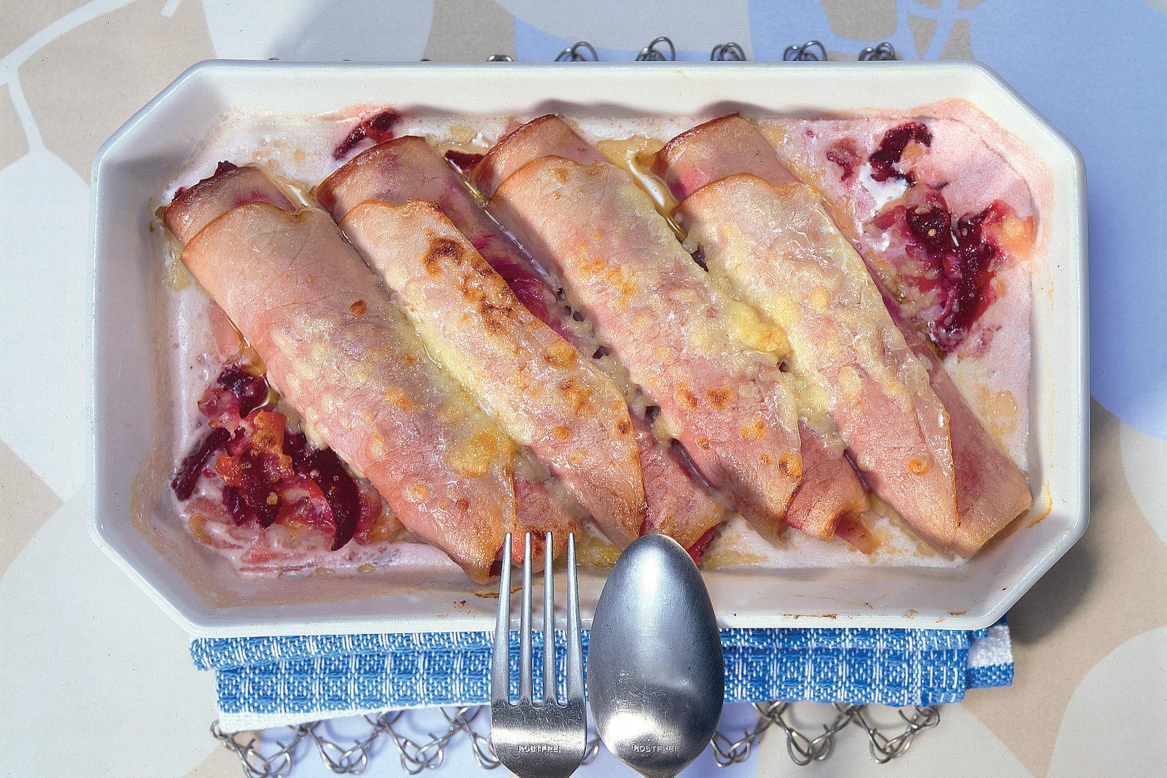 Roulades de jambon aux betteraves