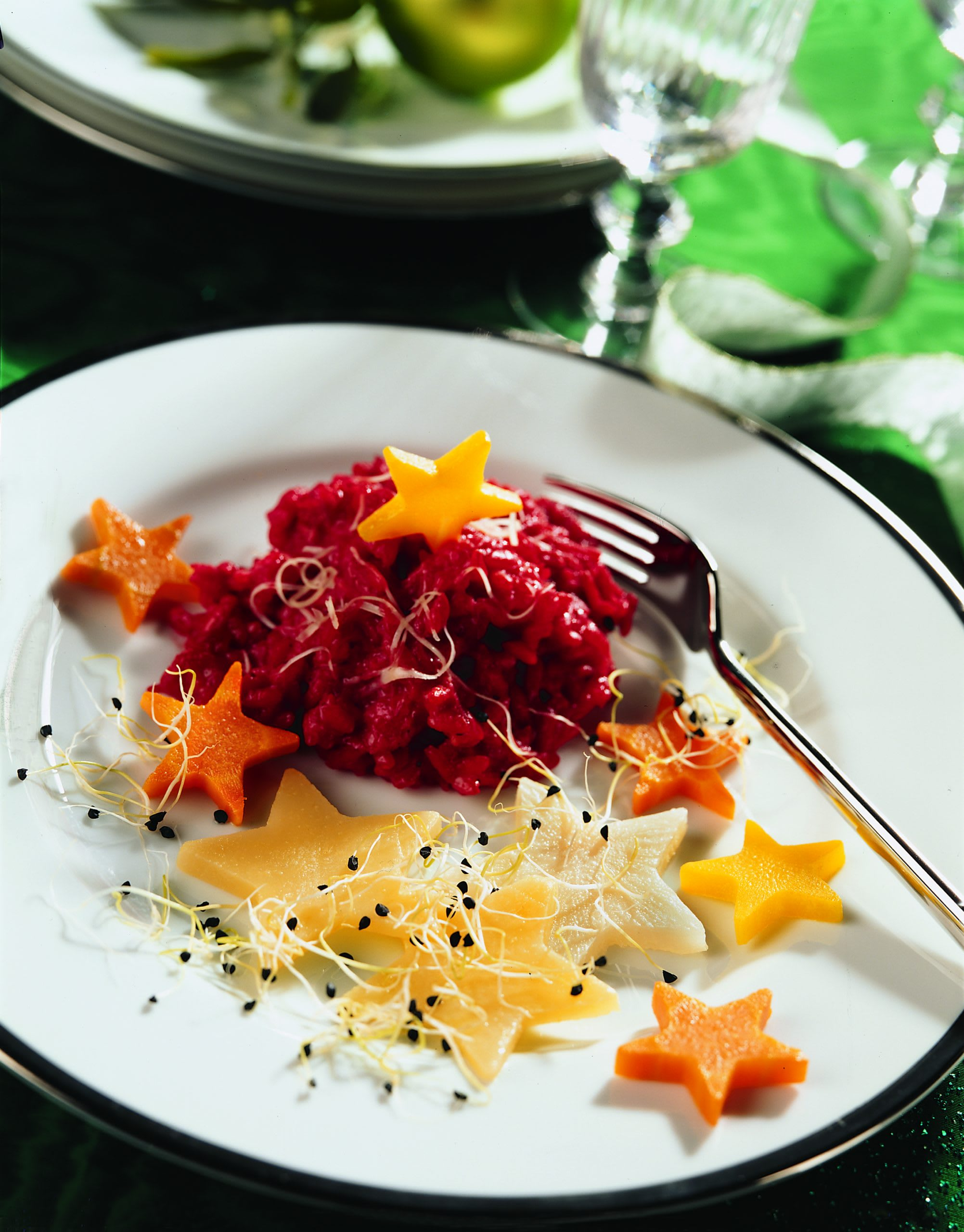 Risotto à la betterave et légumes étoilés
