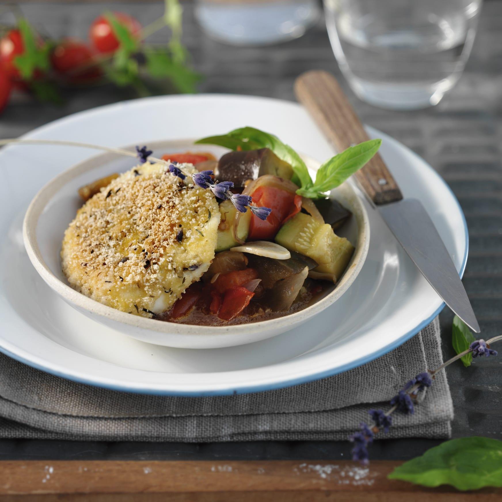 Ratatouille mit paniertem Mozzarella
