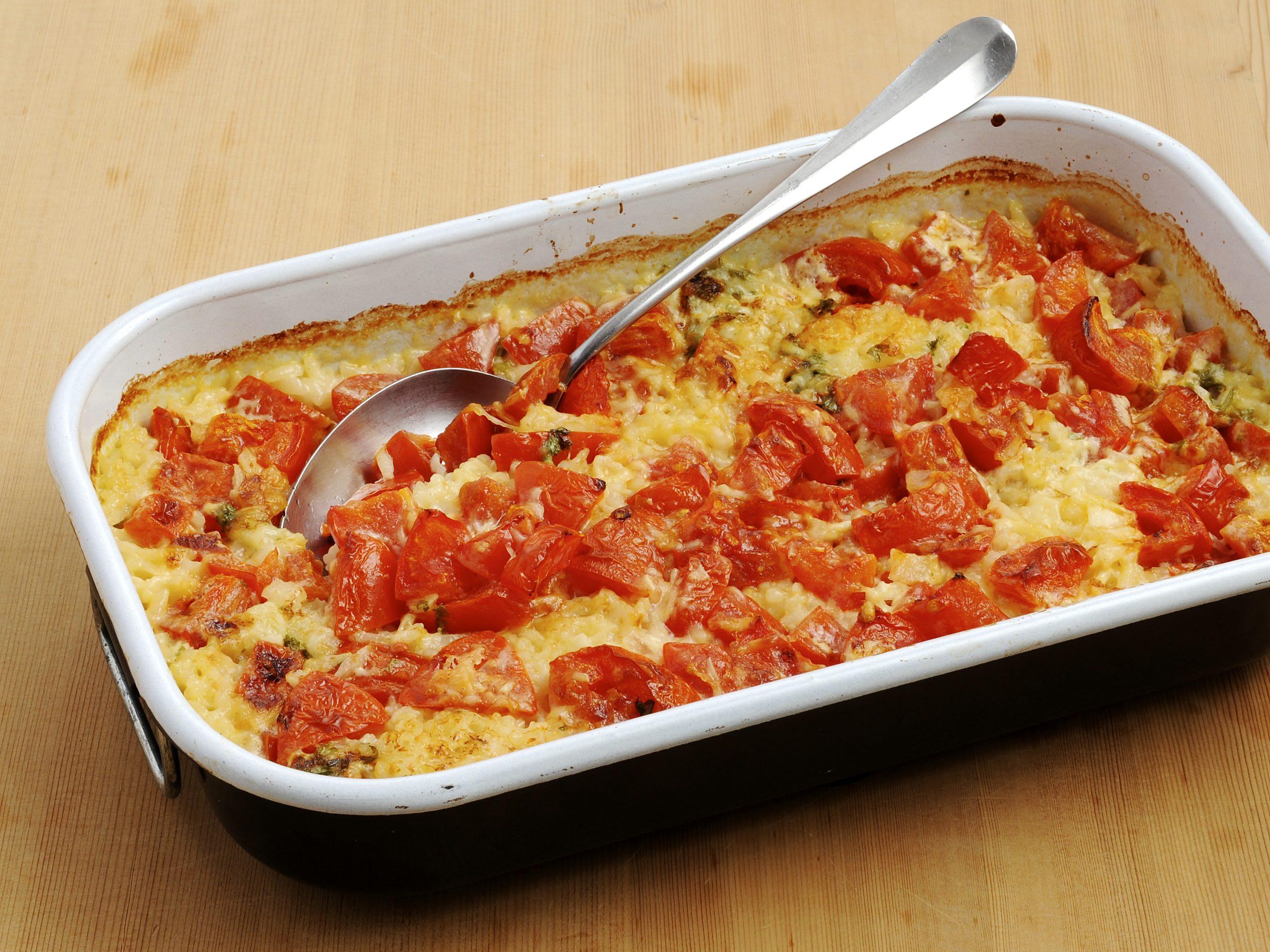 Gratin de riz aux tomates
