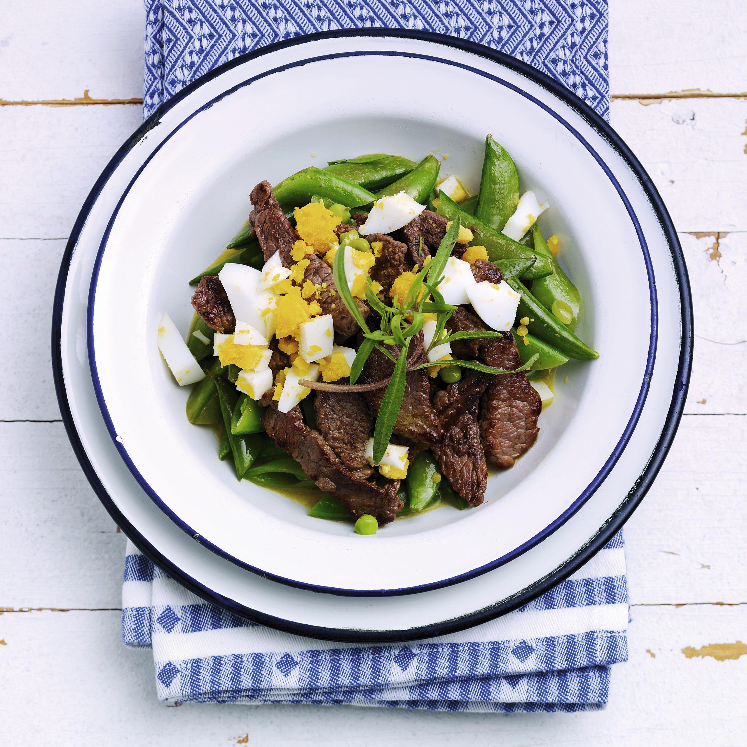 Salade de pois gourmands au boeuf