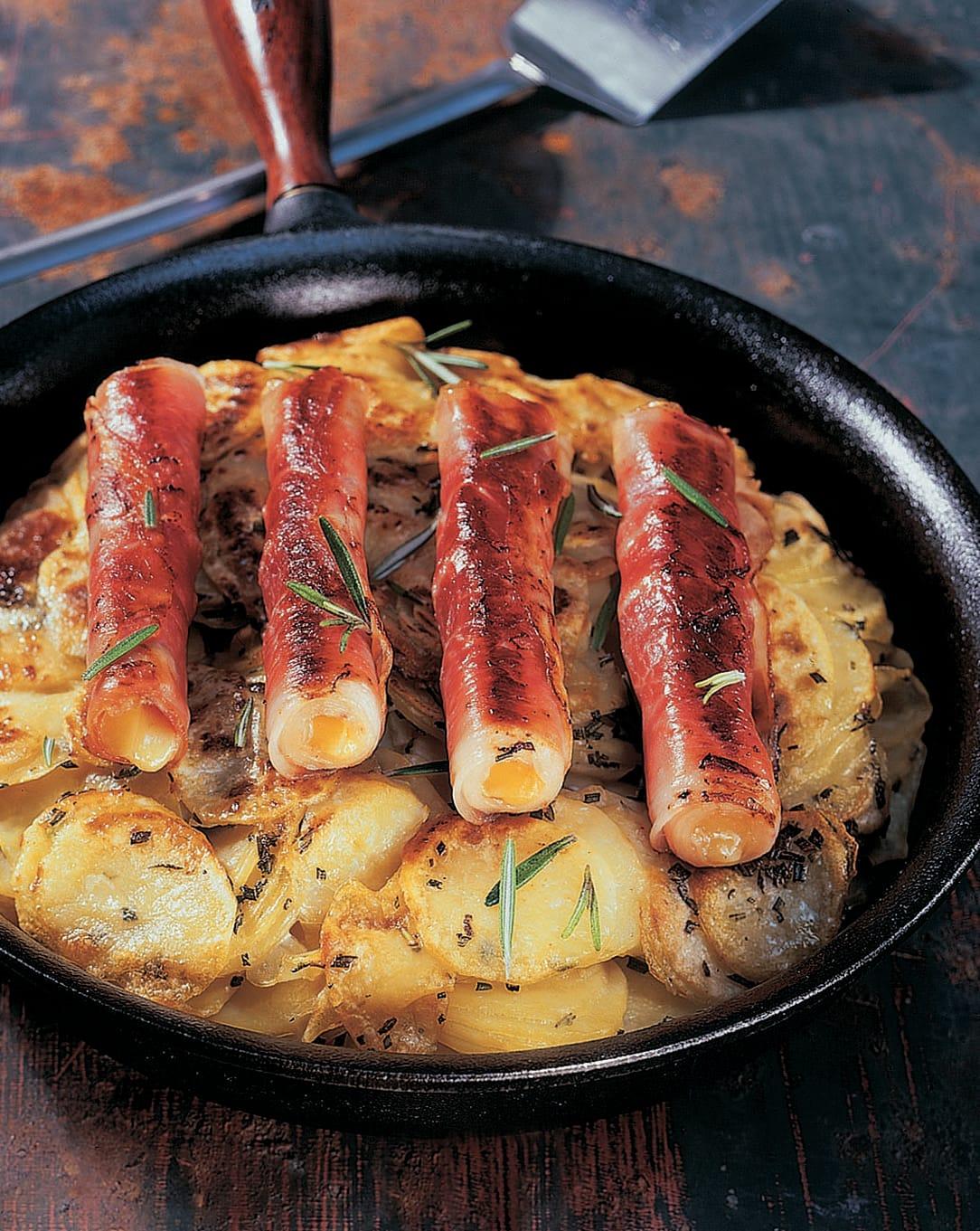 Roulades de jambon au fromage sur lit de rösti