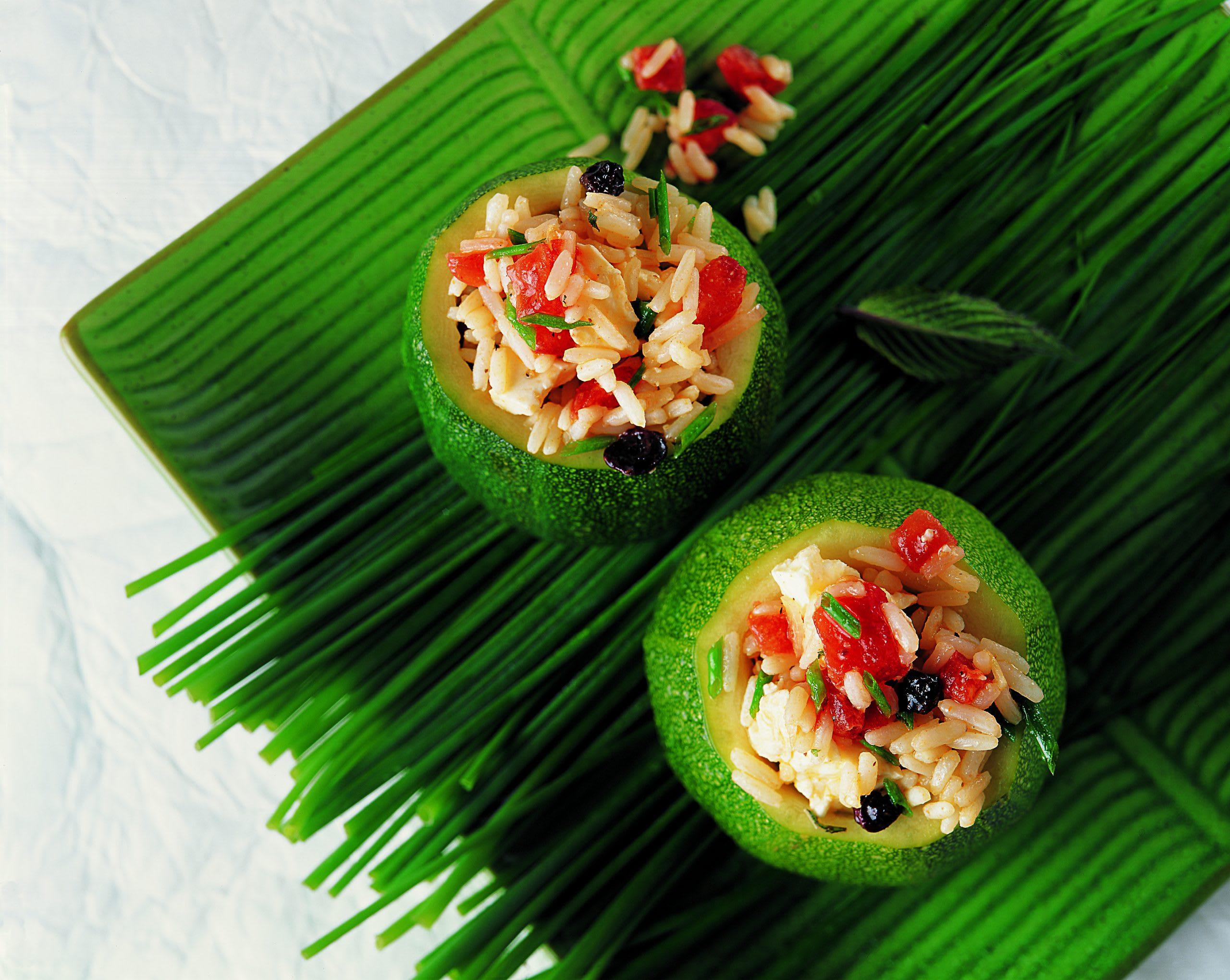 Courgette ronde farcis au riz