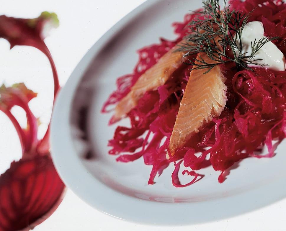 Rote Sauerkrautvorspeise mit geräucherten Felchen und Meerrettich