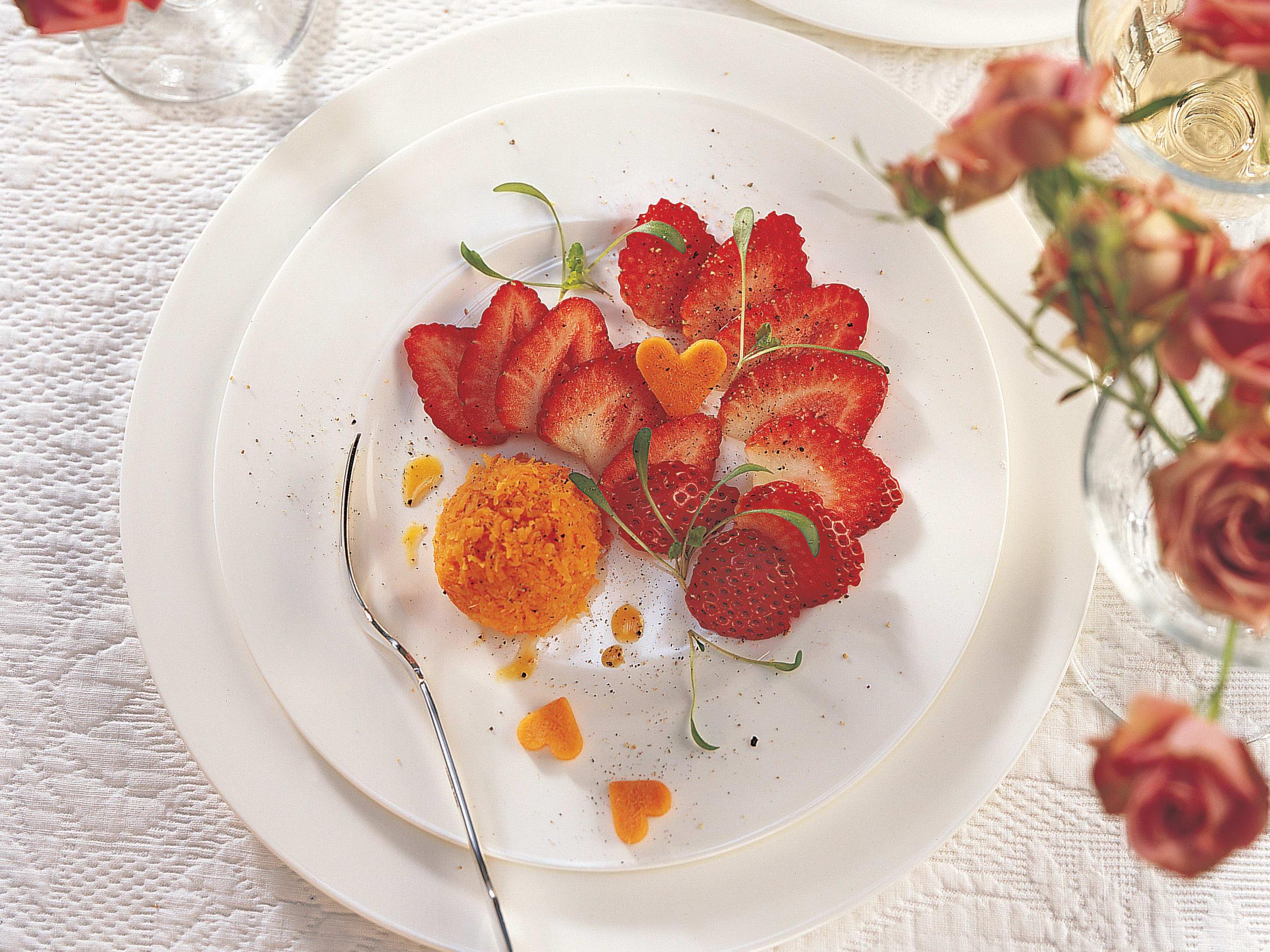 Duo de fraises et carottes râpées