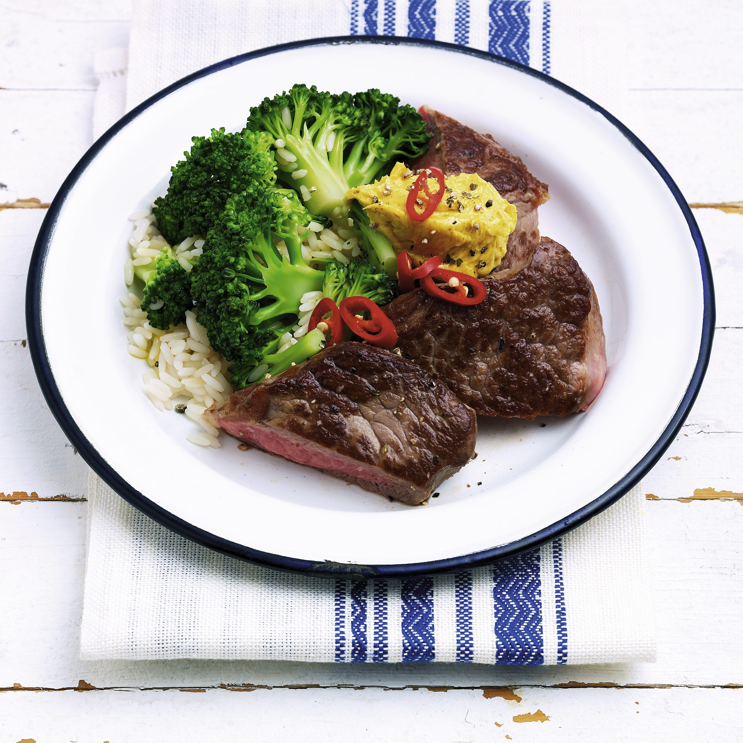 Rumpsteaks mit Broccoli-Reis