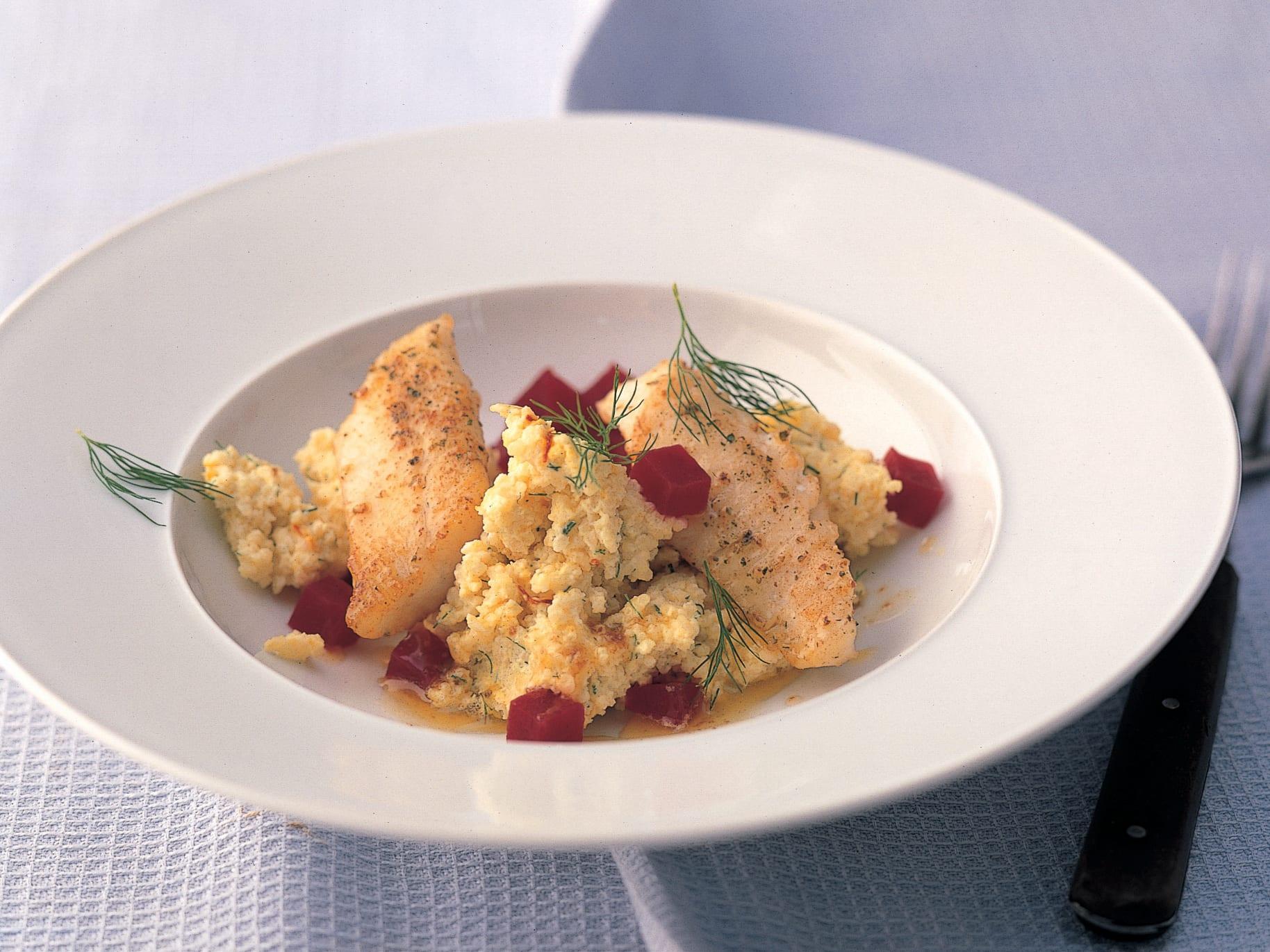 Safran-Couscous mit Felchen und Randen