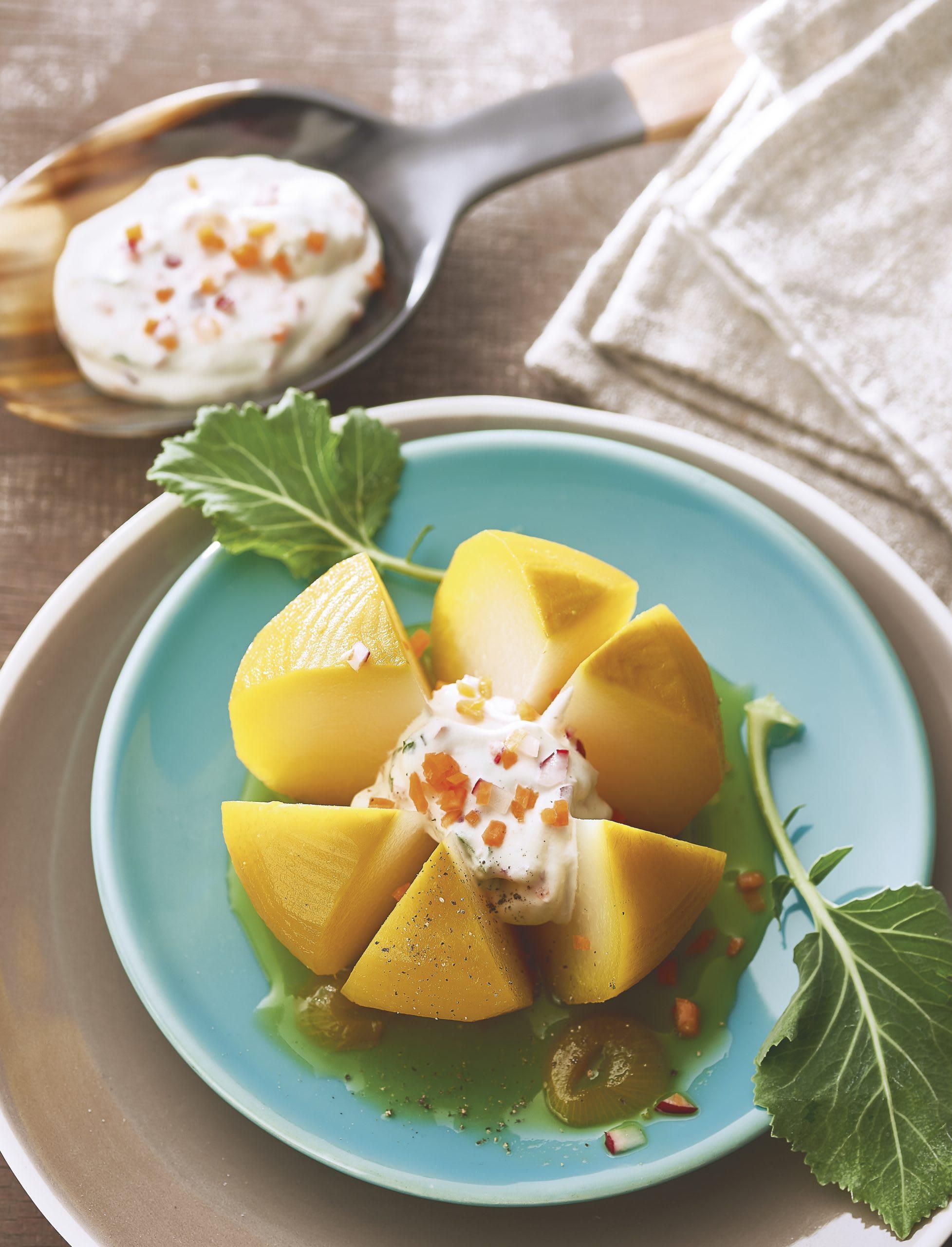 Colrave au safran, mousse fromage frais-légumes